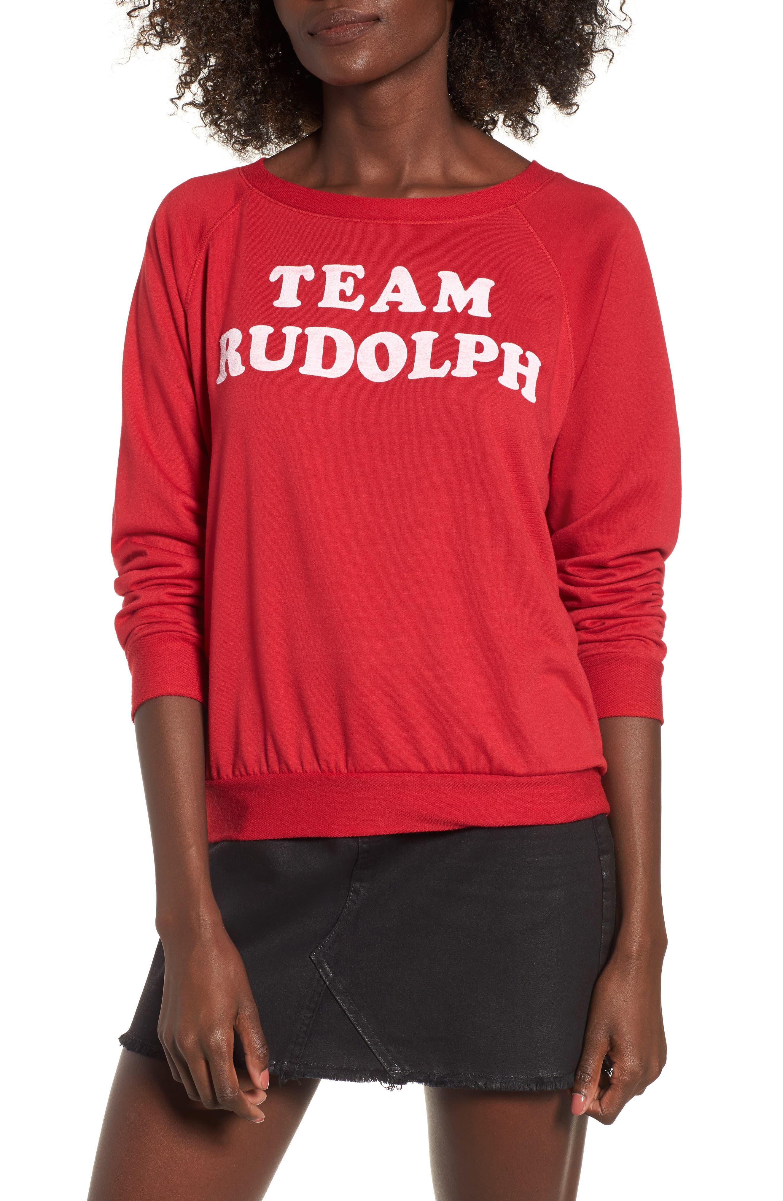 Team Rudolph Sweatshirt,                             Main thumbnail 1, color,                             Burgundy