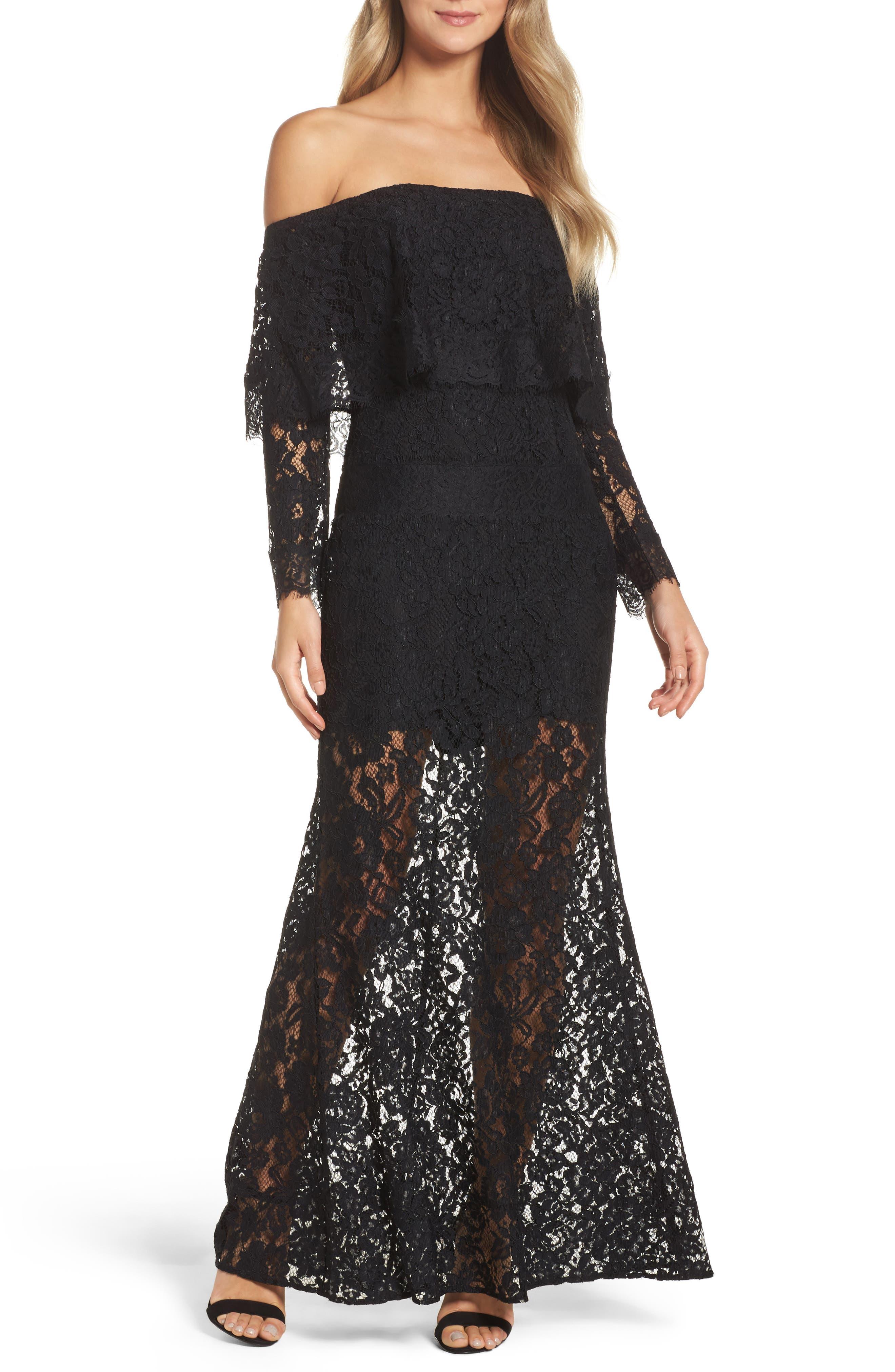 Soiree Lace Off the Shoulder Gown,                         Main,                         color, Black
