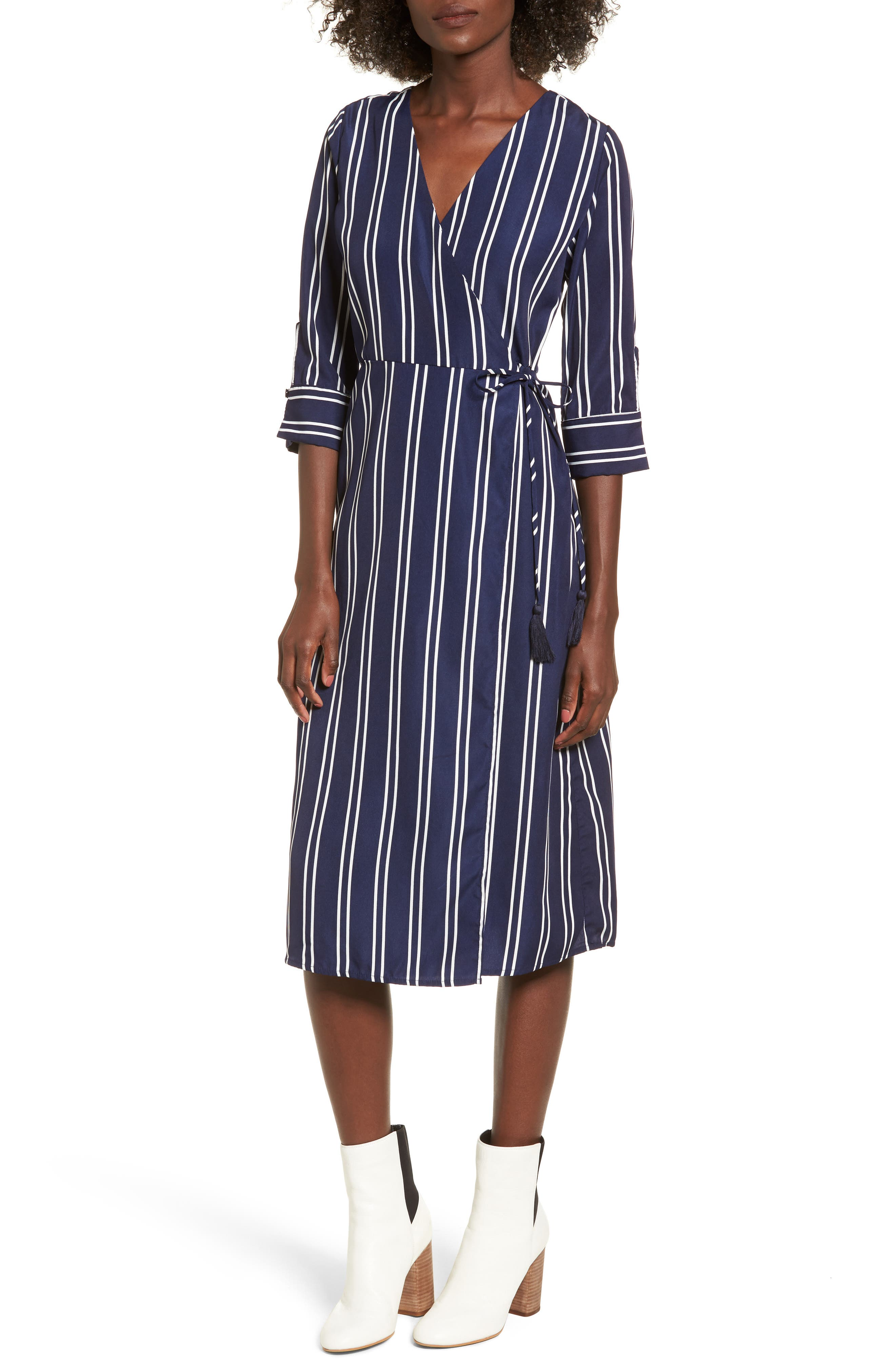 Stripe Wrap Midi Dress,                         Main,                         color, Navy