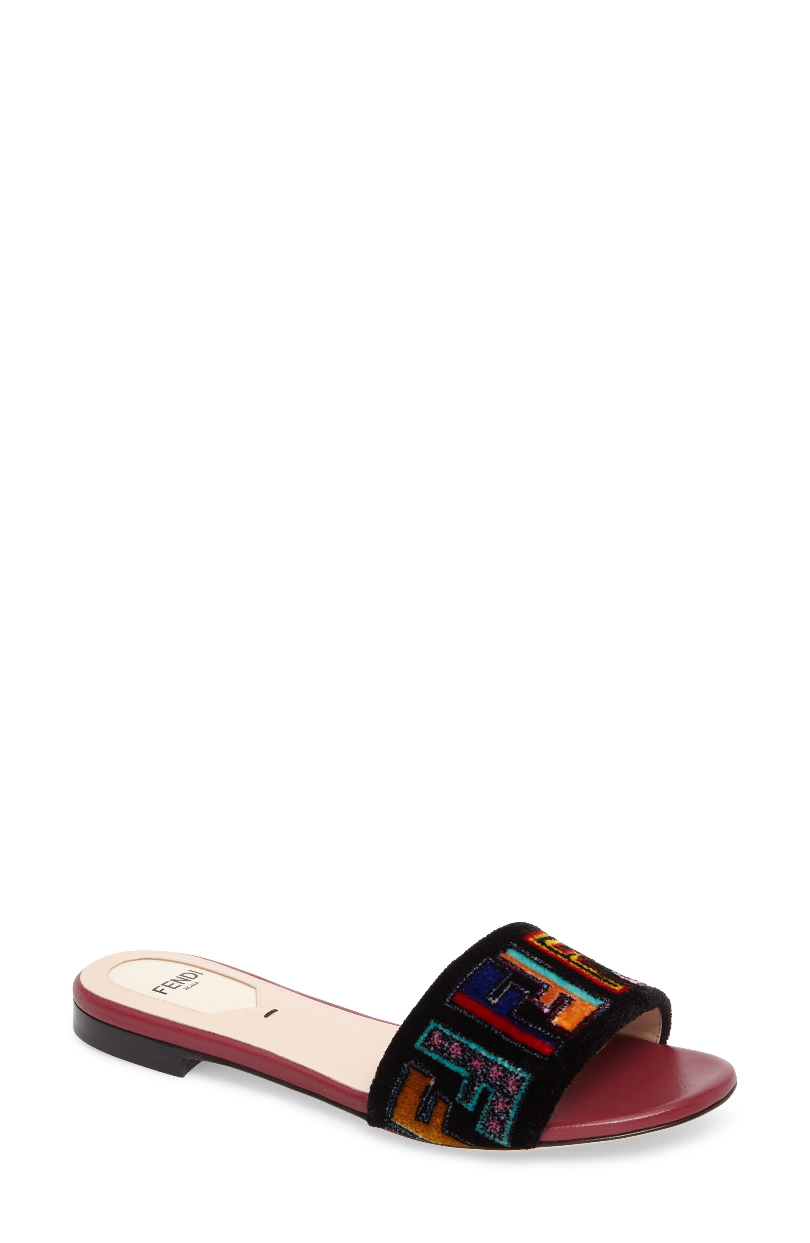 Alternate Image 1 Selected - Fendi Logo Slide Sandal (Women)