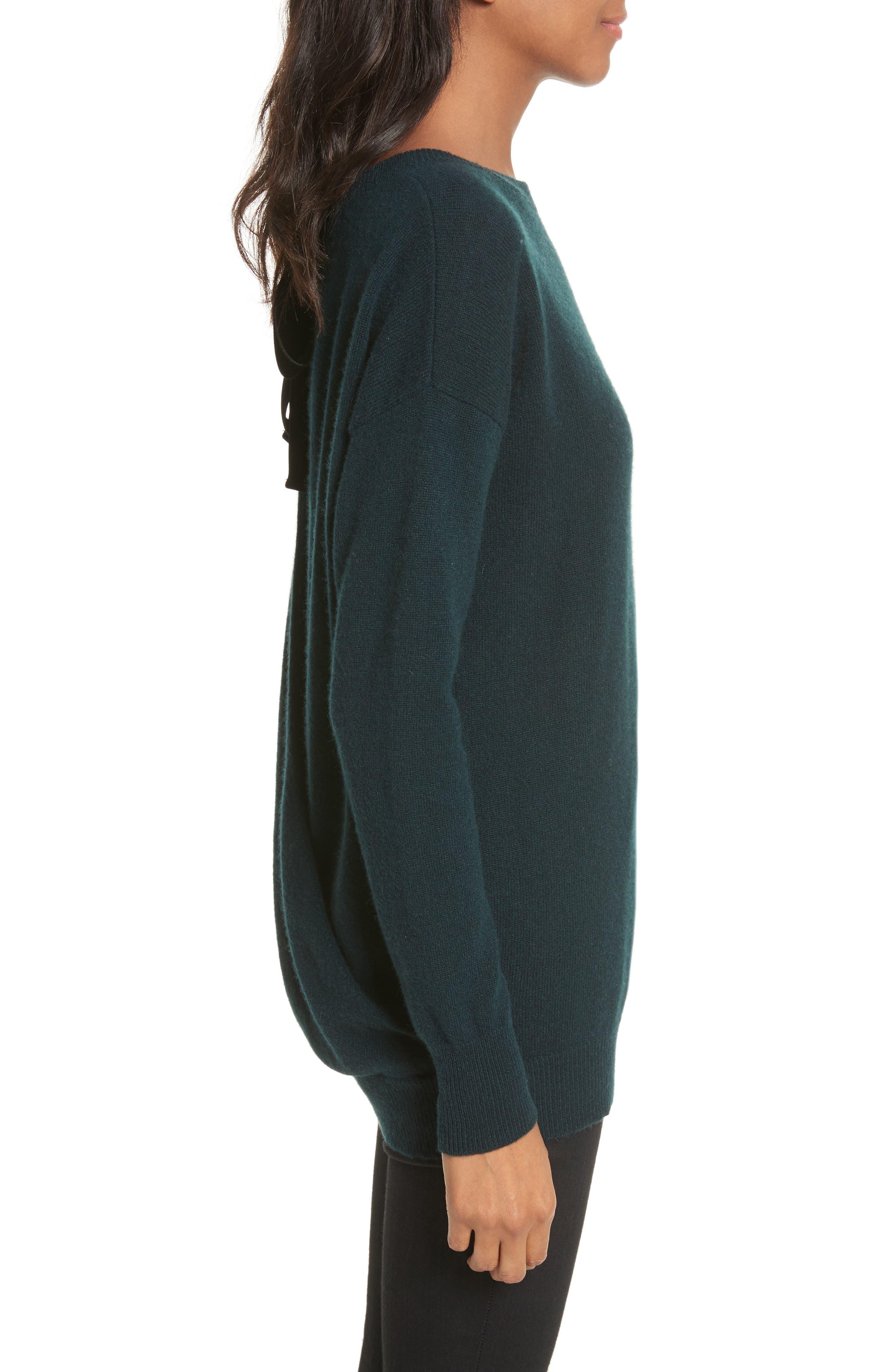 Velvet Tie Cashmere Sweater,                             Alternate thumbnail 3, color,                             Juniper