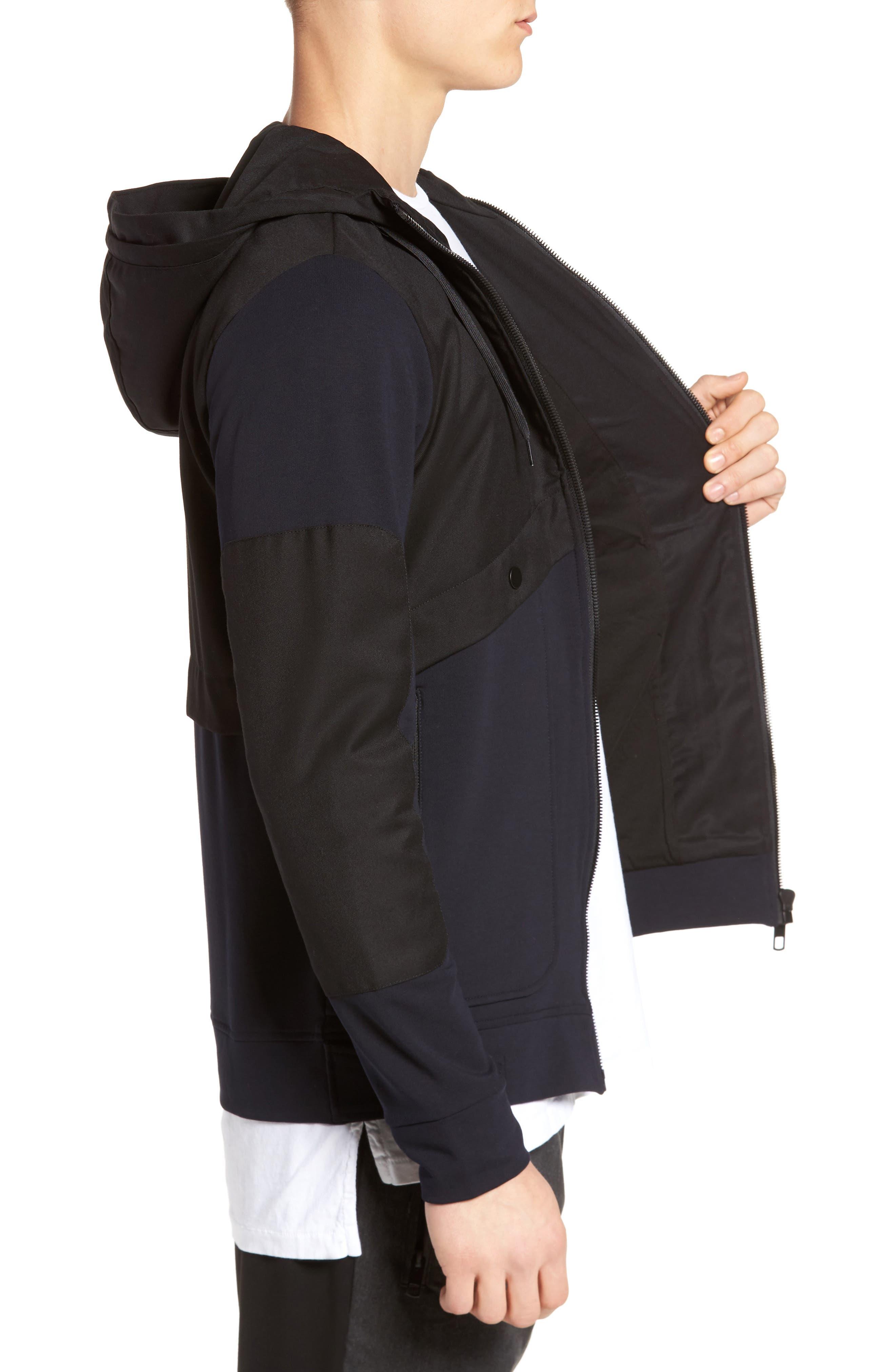 Fleece Zip Up Jacket,                             Alternate thumbnail 3, color,                             Black