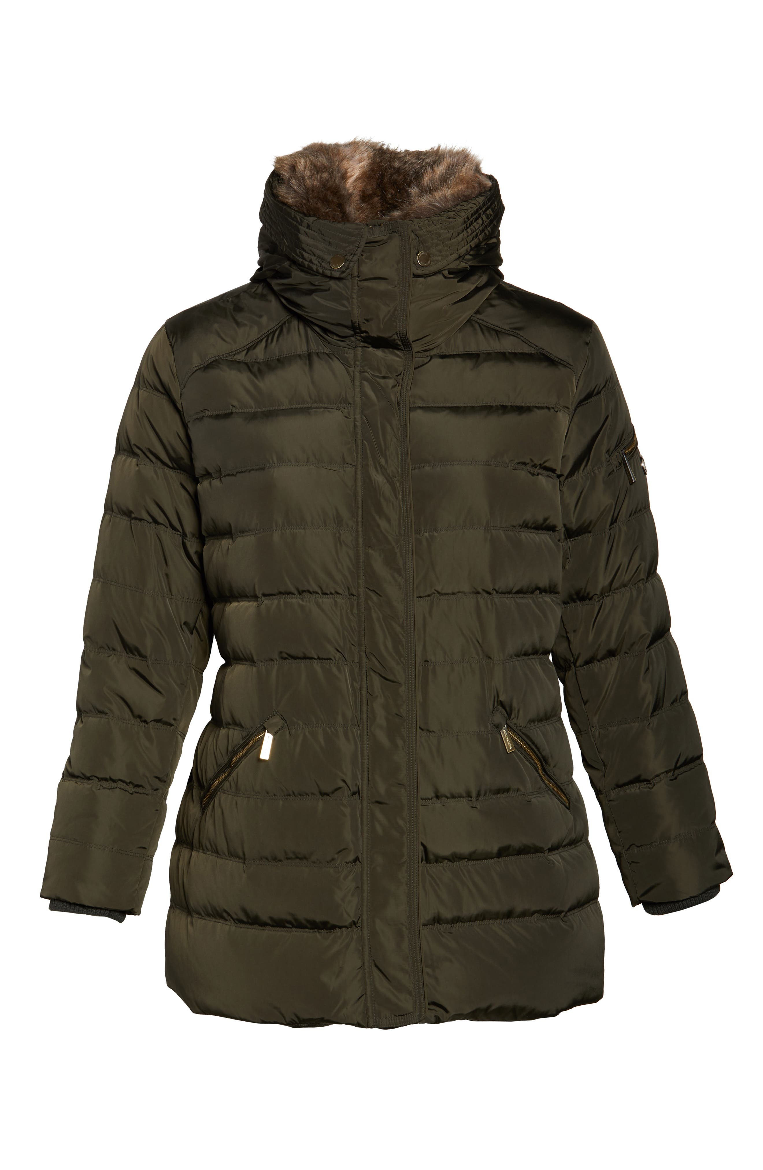 Down & Feather Hooded Coat with Faux Fur Trim,                             Alternate thumbnail 6, color,                             Dark Moss