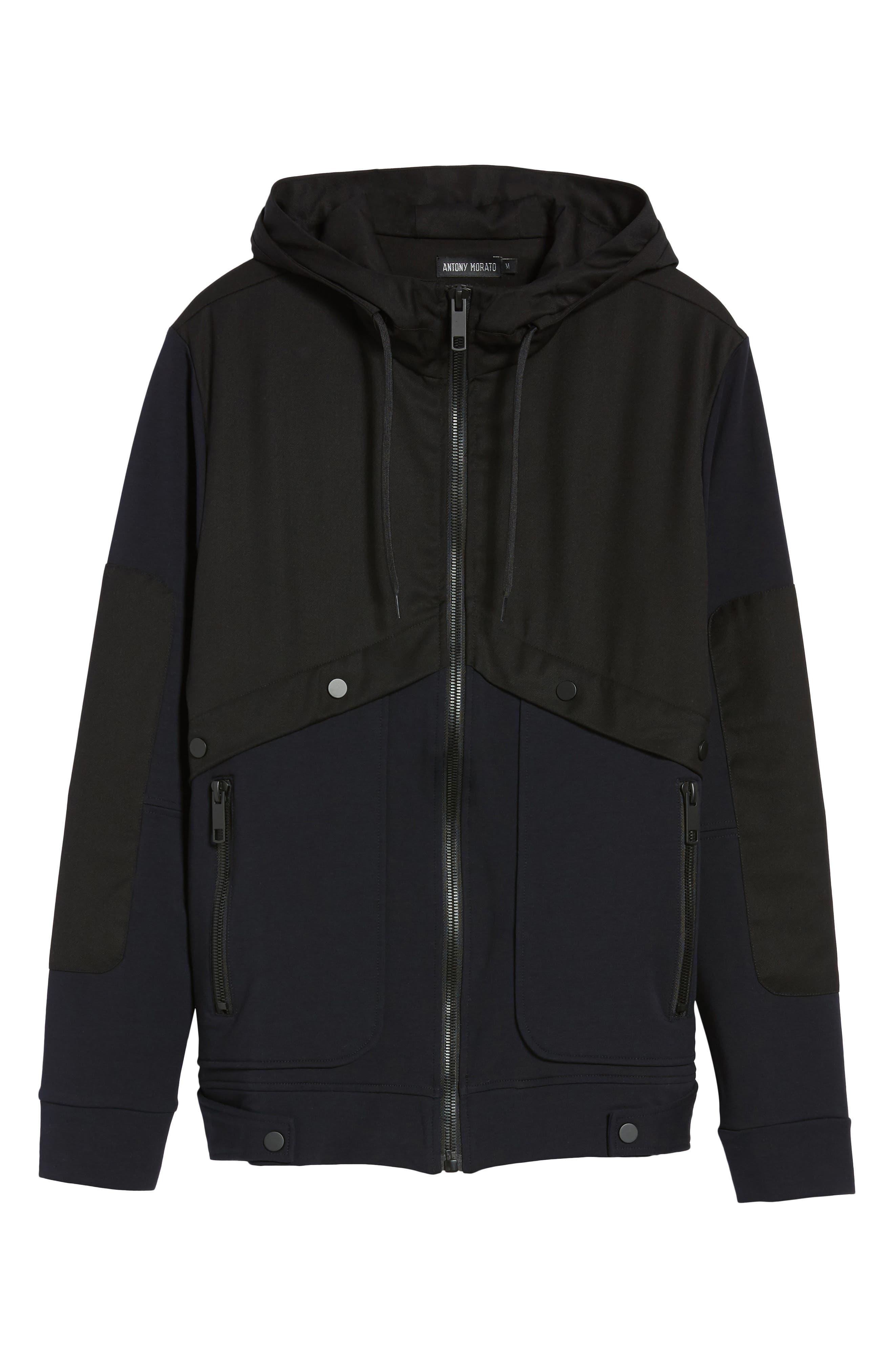 Fleece Zip Up Jacket,                             Alternate thumbnail 6, color,                             Black