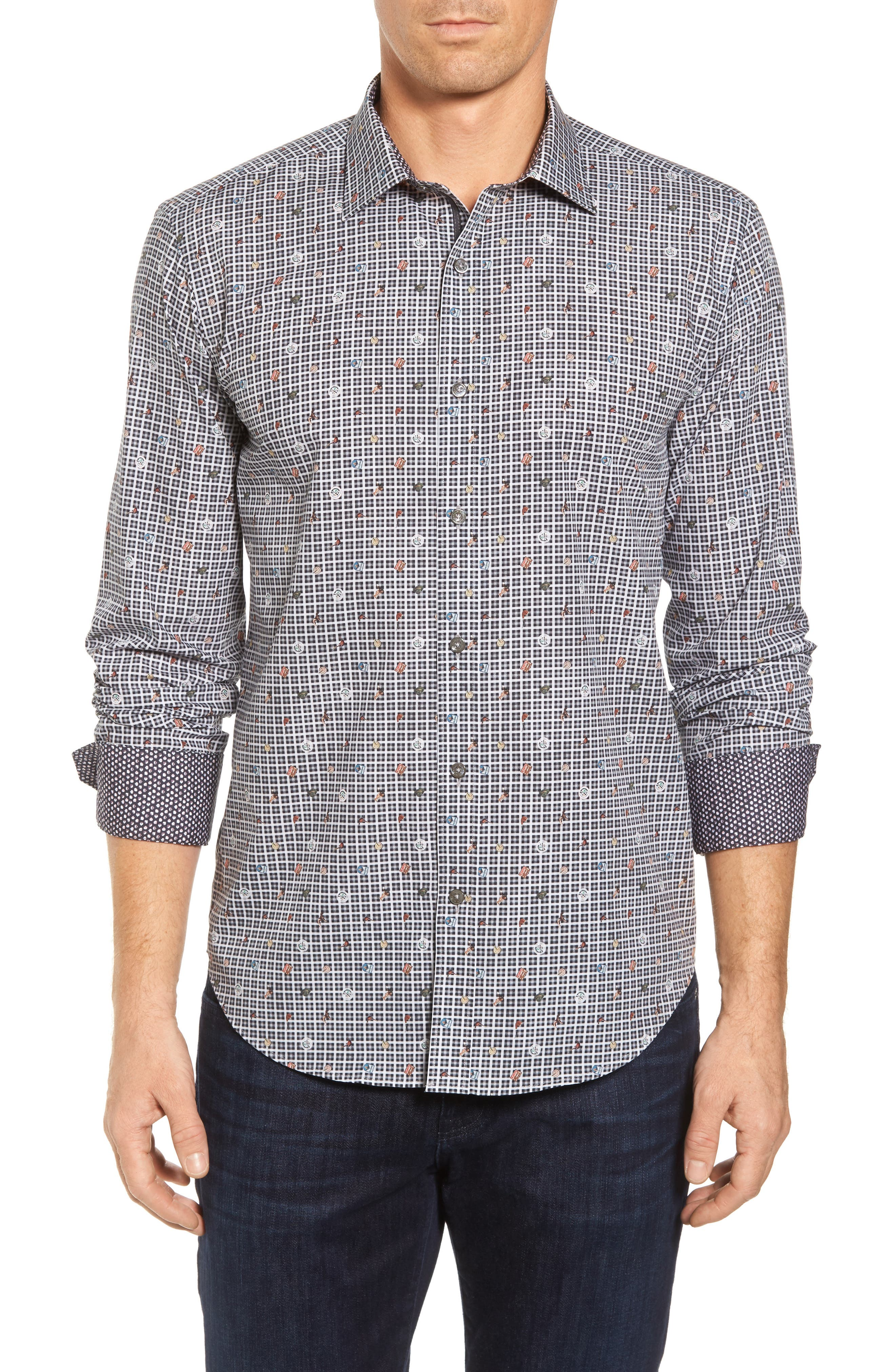 Shaped Fit Print Sport Shirt,                         Main,                         color, Platinum