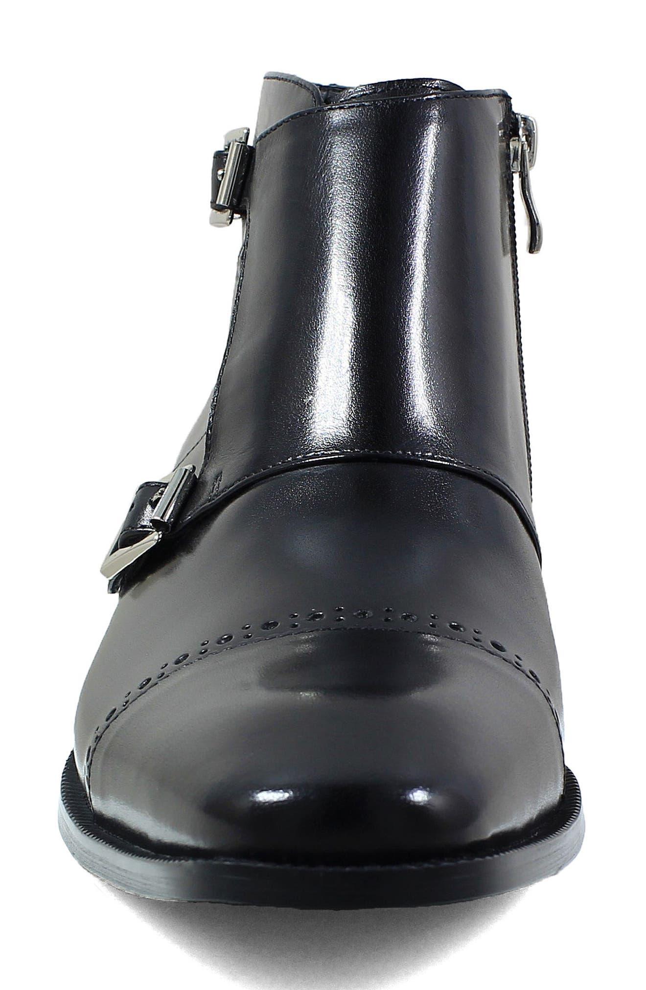 Kason Double Monk Strap Boot,                             Alternate thumbnail 5, color,                             Black Leather