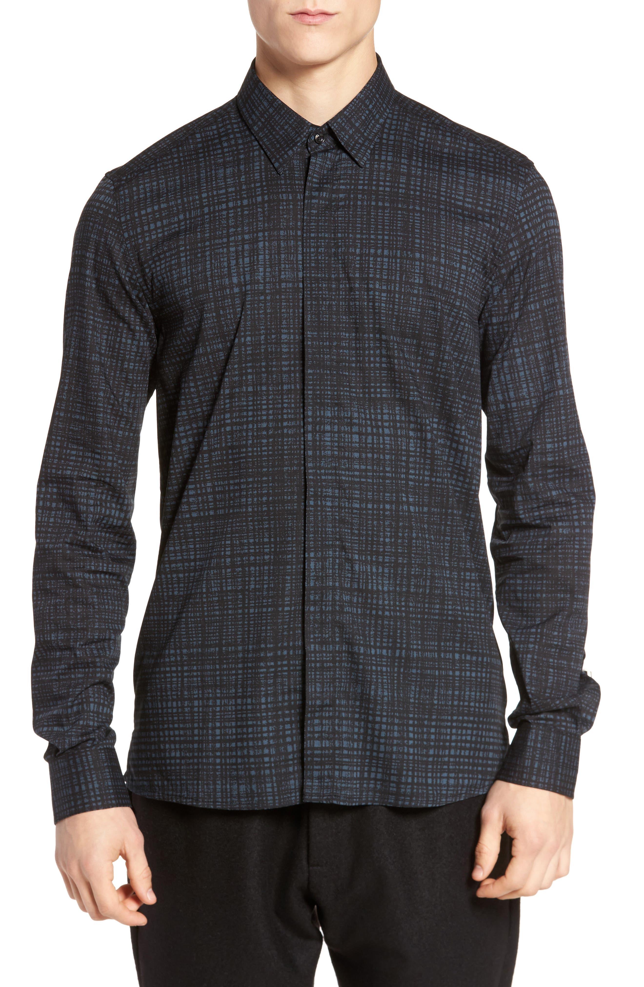 Pattern Shirt,                         Main,                         color, Pacific Blue