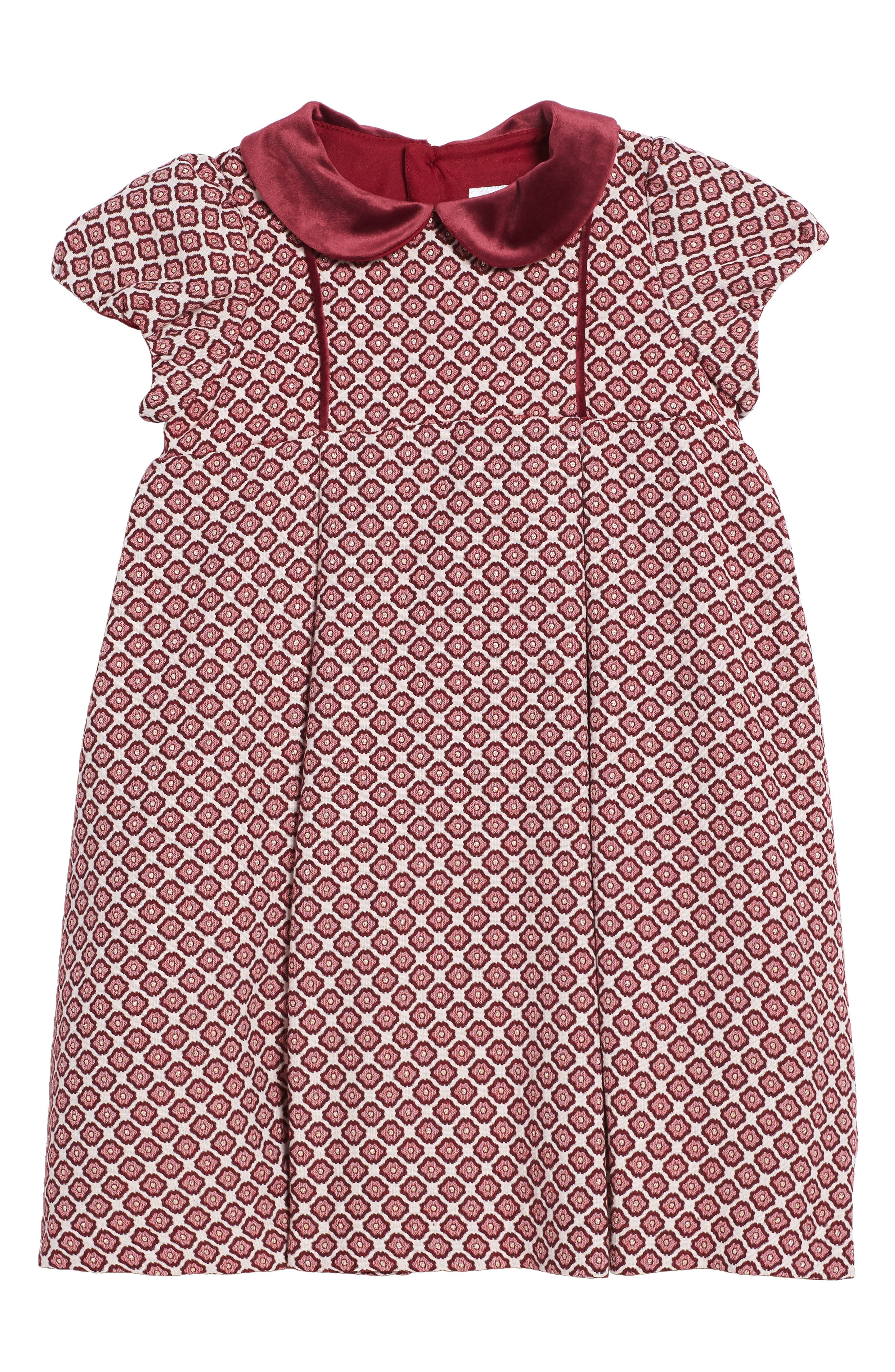 Floral Jacquard Dress,                             Main thumbnail 1, color,                             Burgundy