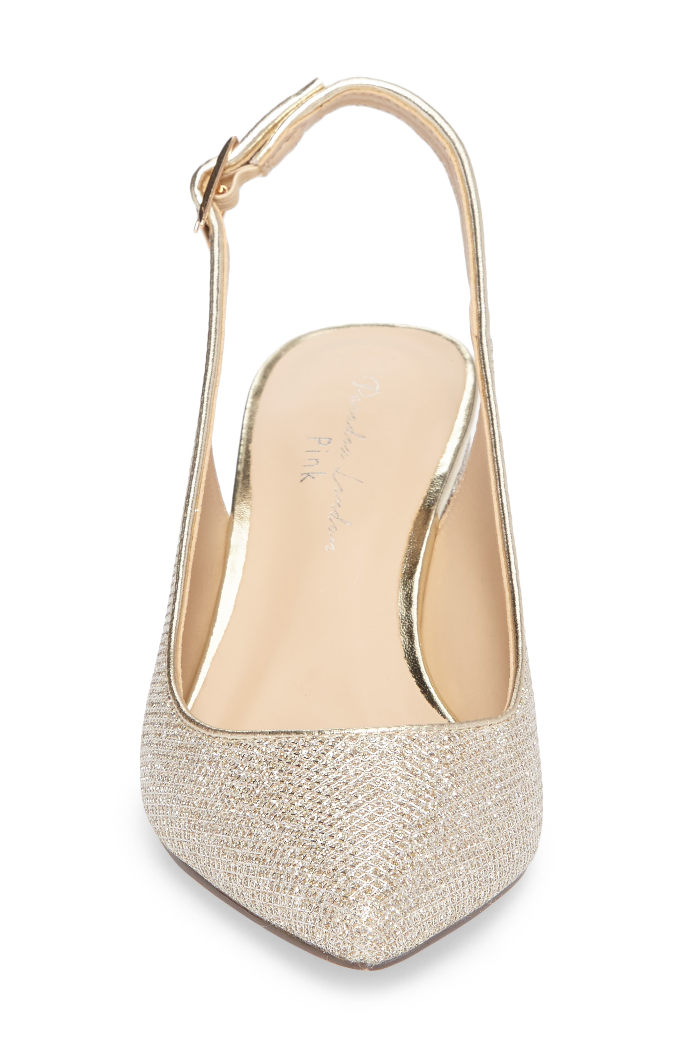 Aubree Slingback Pump,                             Alternate thumbnail 4, color,                             Champagne Glitter