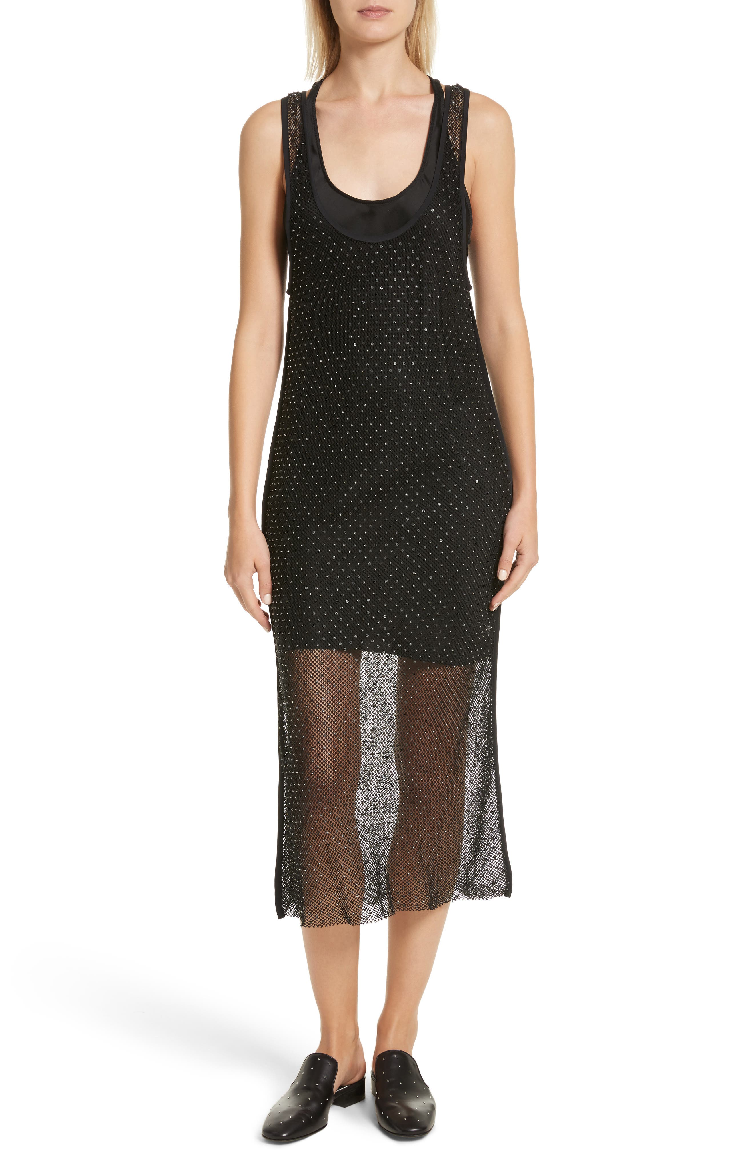 Terry Beaded Mesh Tank Dress,                         Main,                         color, Black