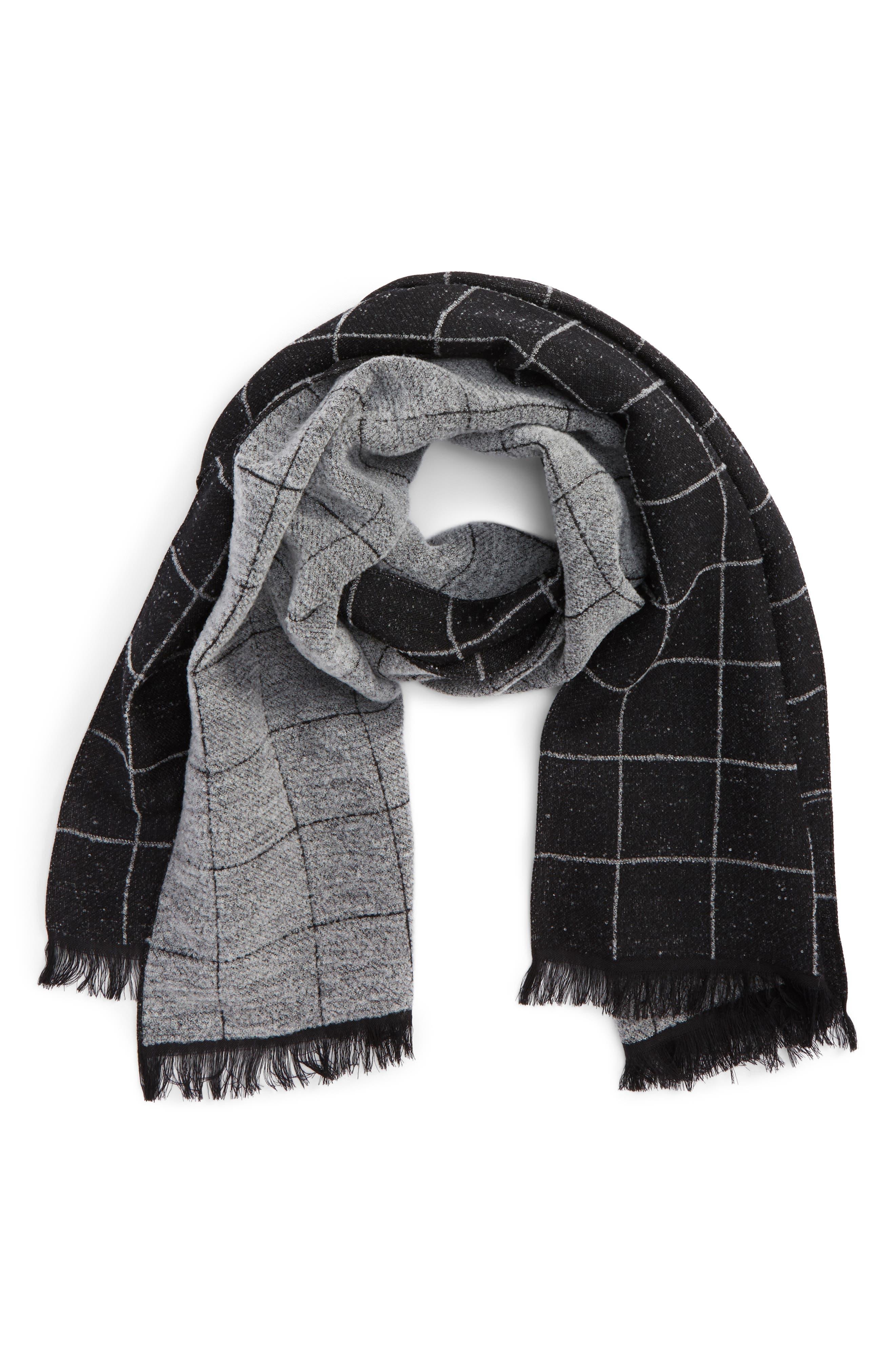 Windowpane Wool Blend Scarf,                         Main,                         color, Black