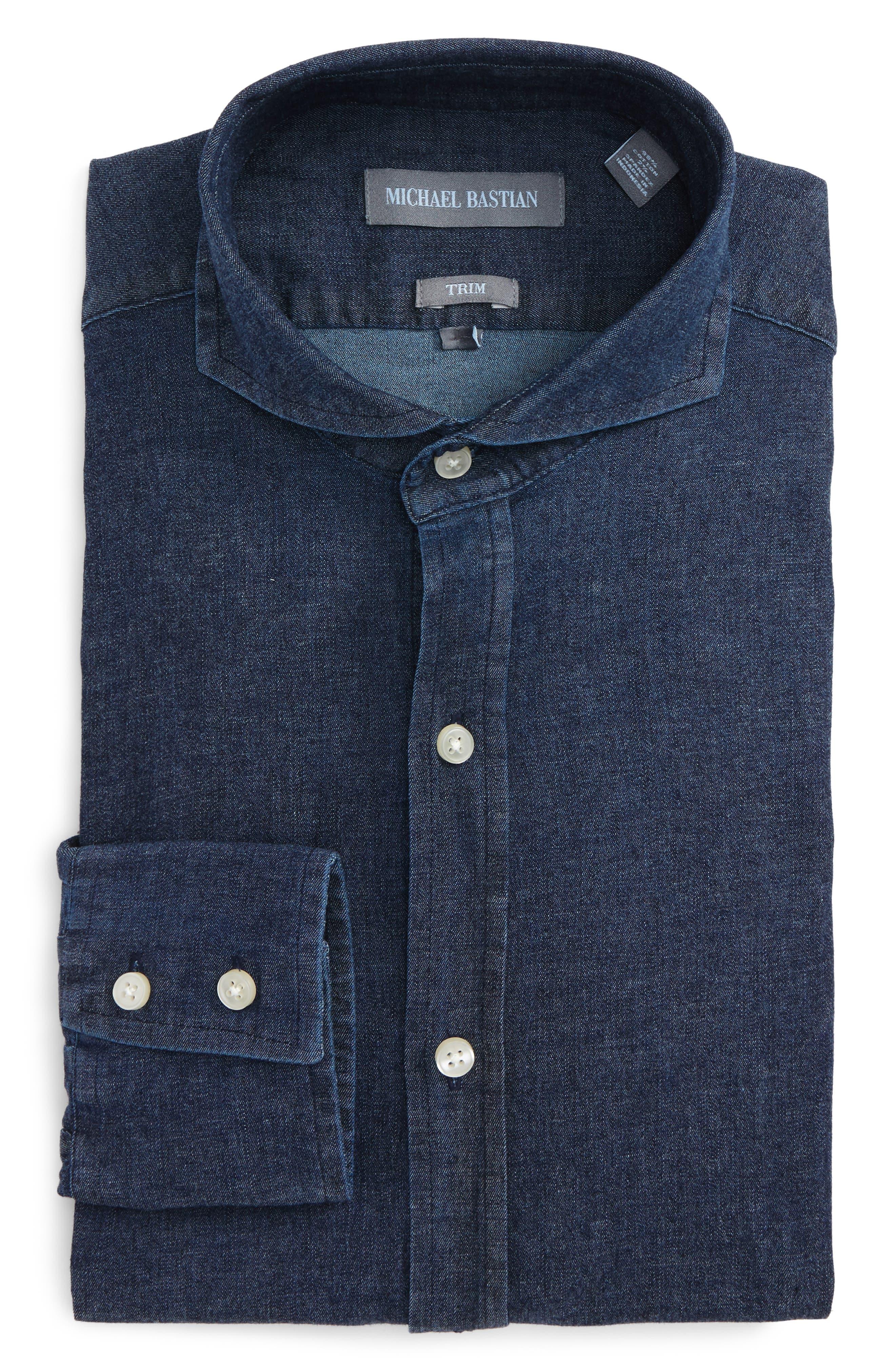 Trim Fit Chambray Shirt,                         Main,                         color, Navy