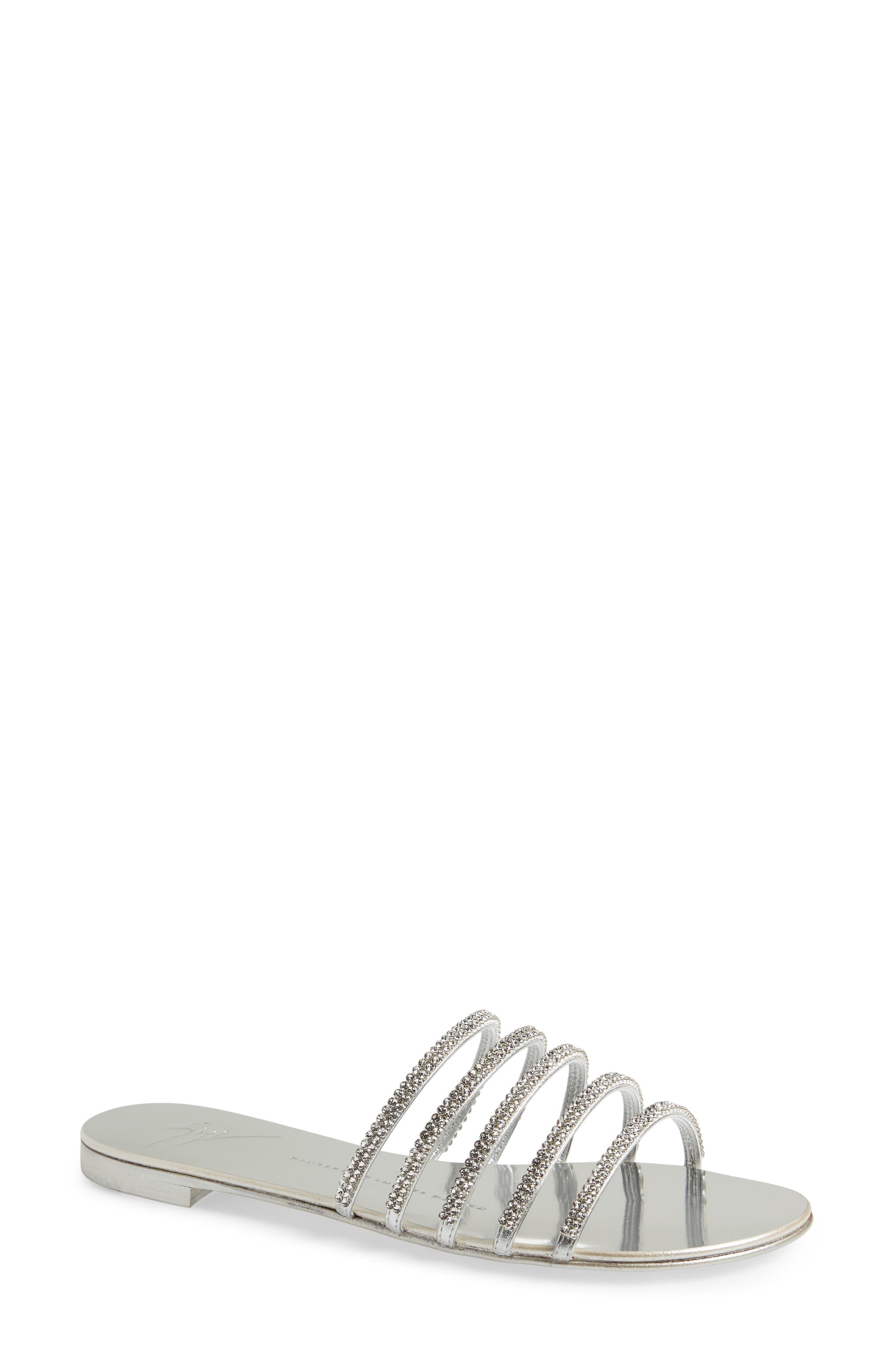 Nuvoroll Crystal Embellished Slide Sandal,                         Main,                         color, Silver