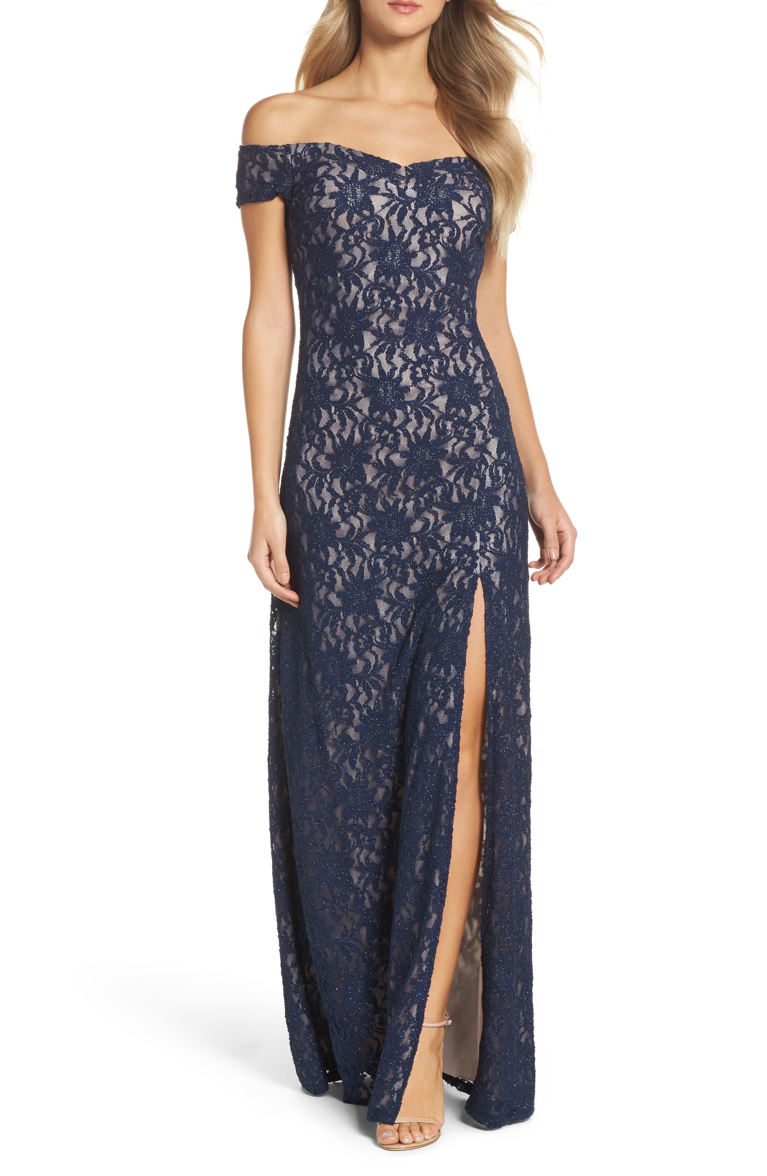 Off the Shoulder Glitter Lace Gown,                         Main,                         color, Navy/ Mauve