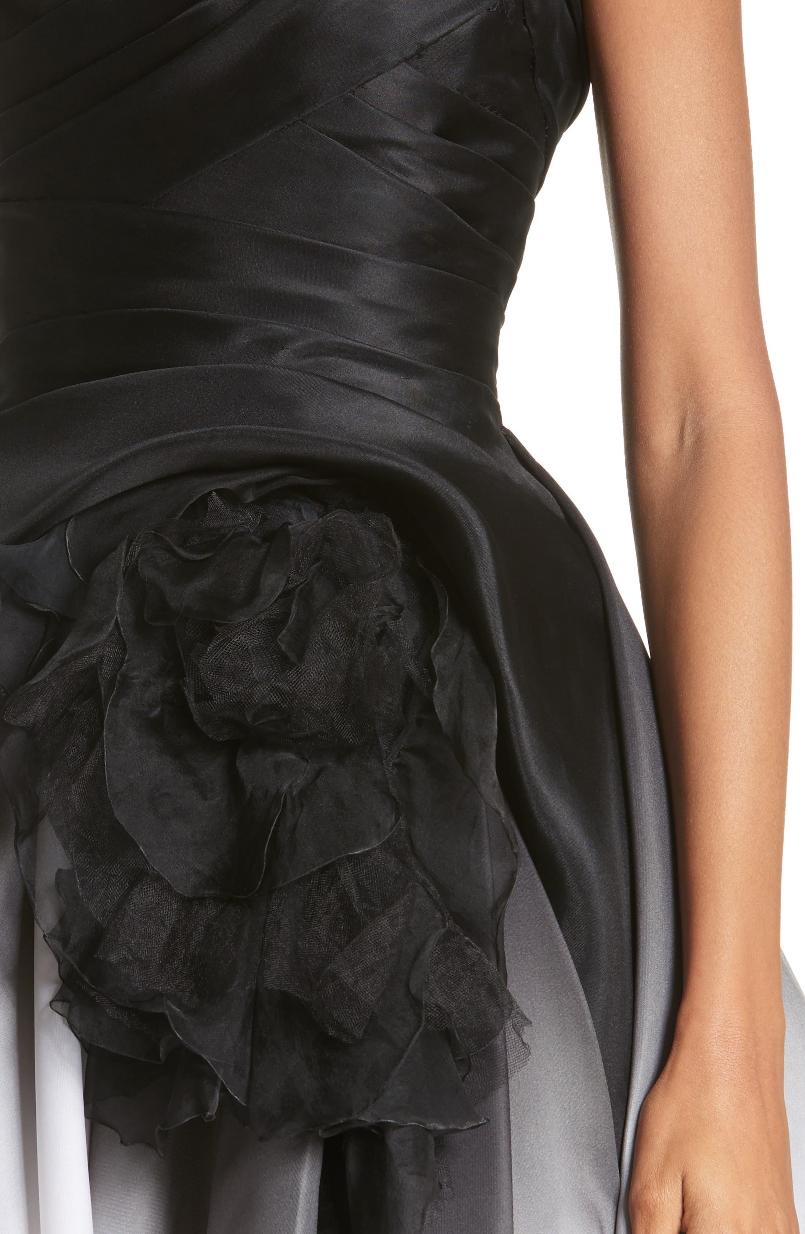 Ombré Strapless Tea Length Dress,                             Alternate thumbnail 5, color,                             Black/ White