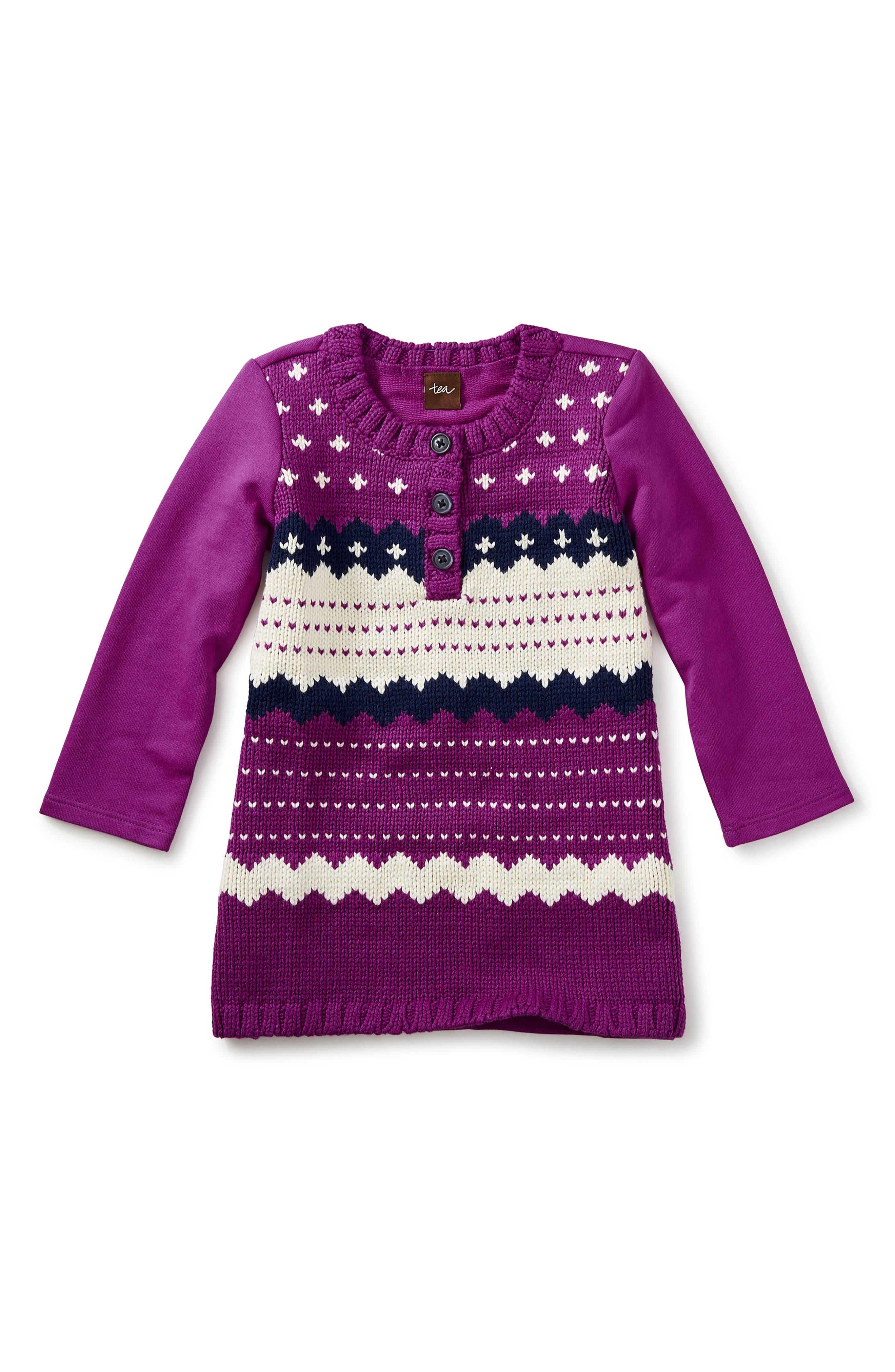Fair Isle Sweater Dress,                         Main,                         color, Dragon Fruit