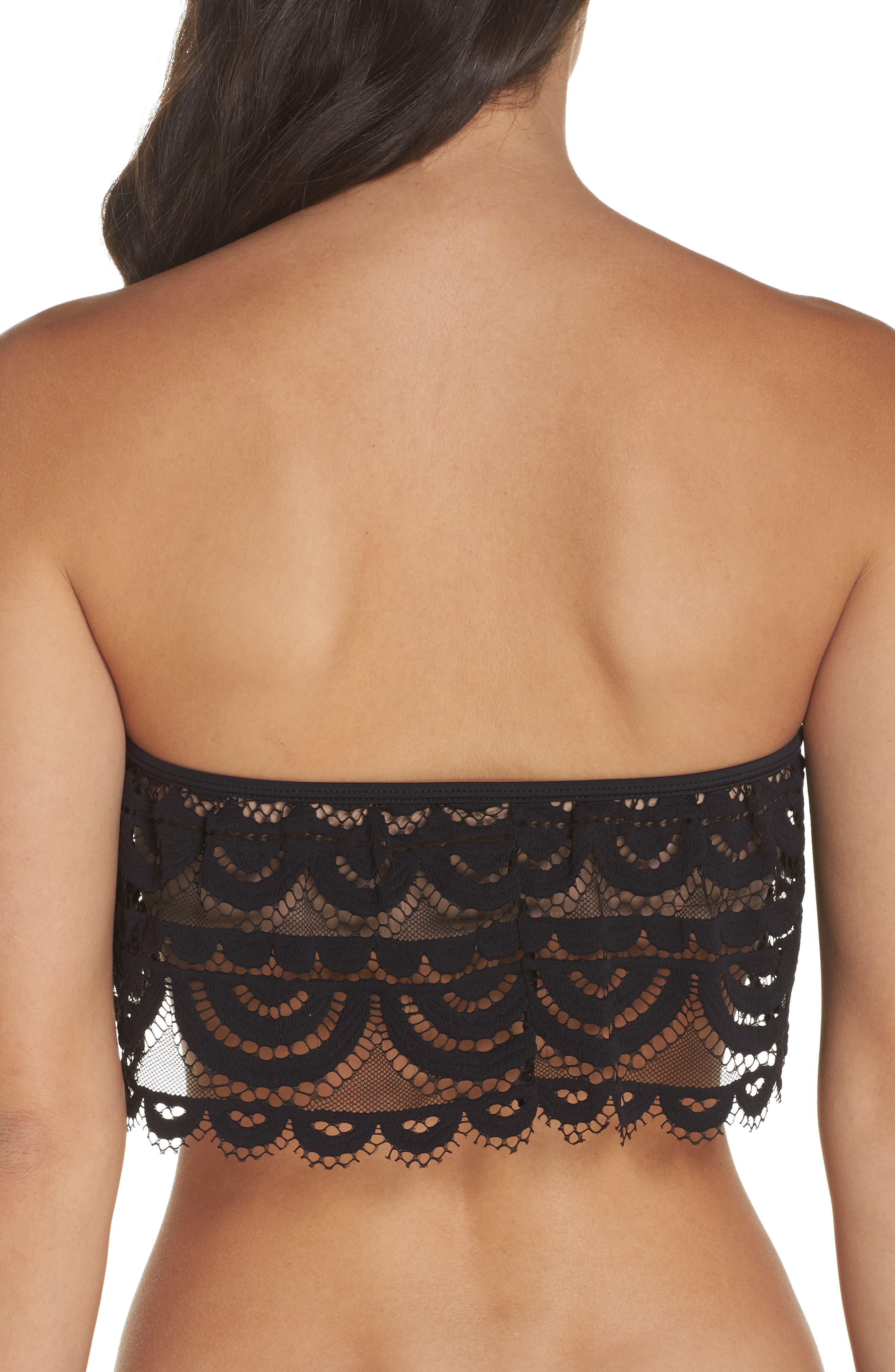 Lace Bandeau Bikini Top,                             Alternate thumbnail 2, color,                             Midnight