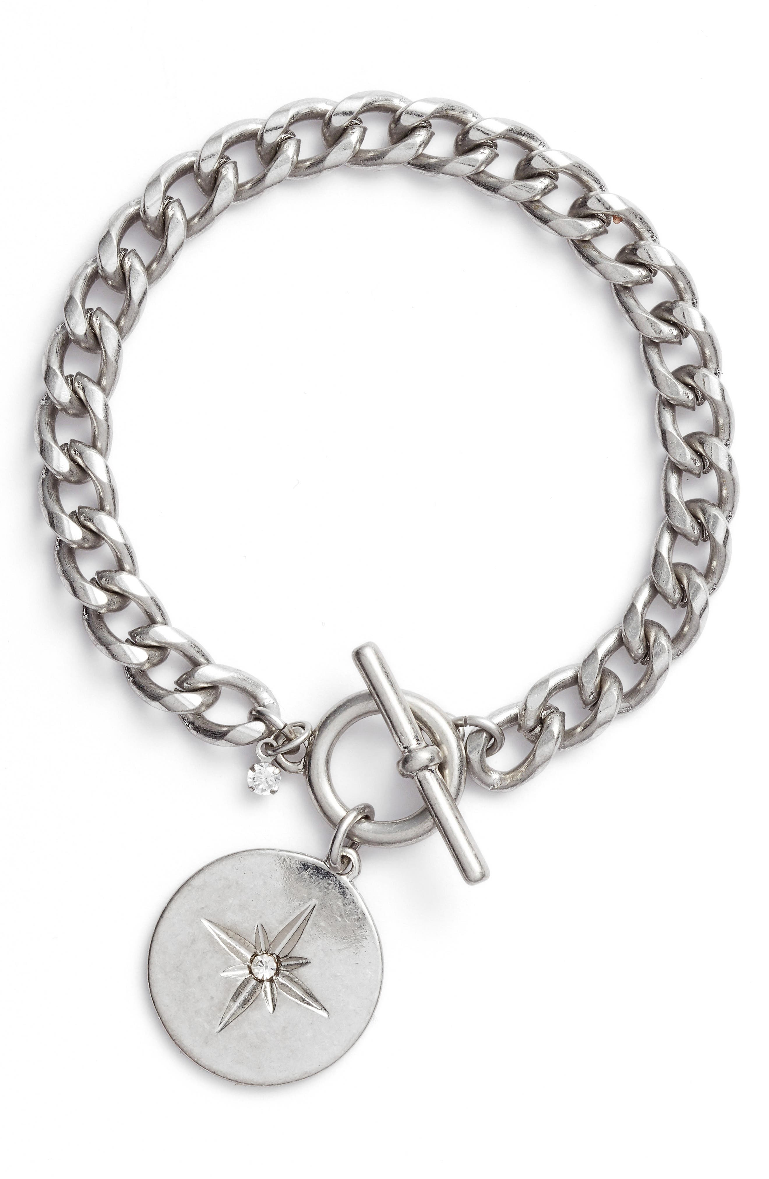 Star Disc Toggle Bracelet,                         Main,                         color, Clear- Rhodium