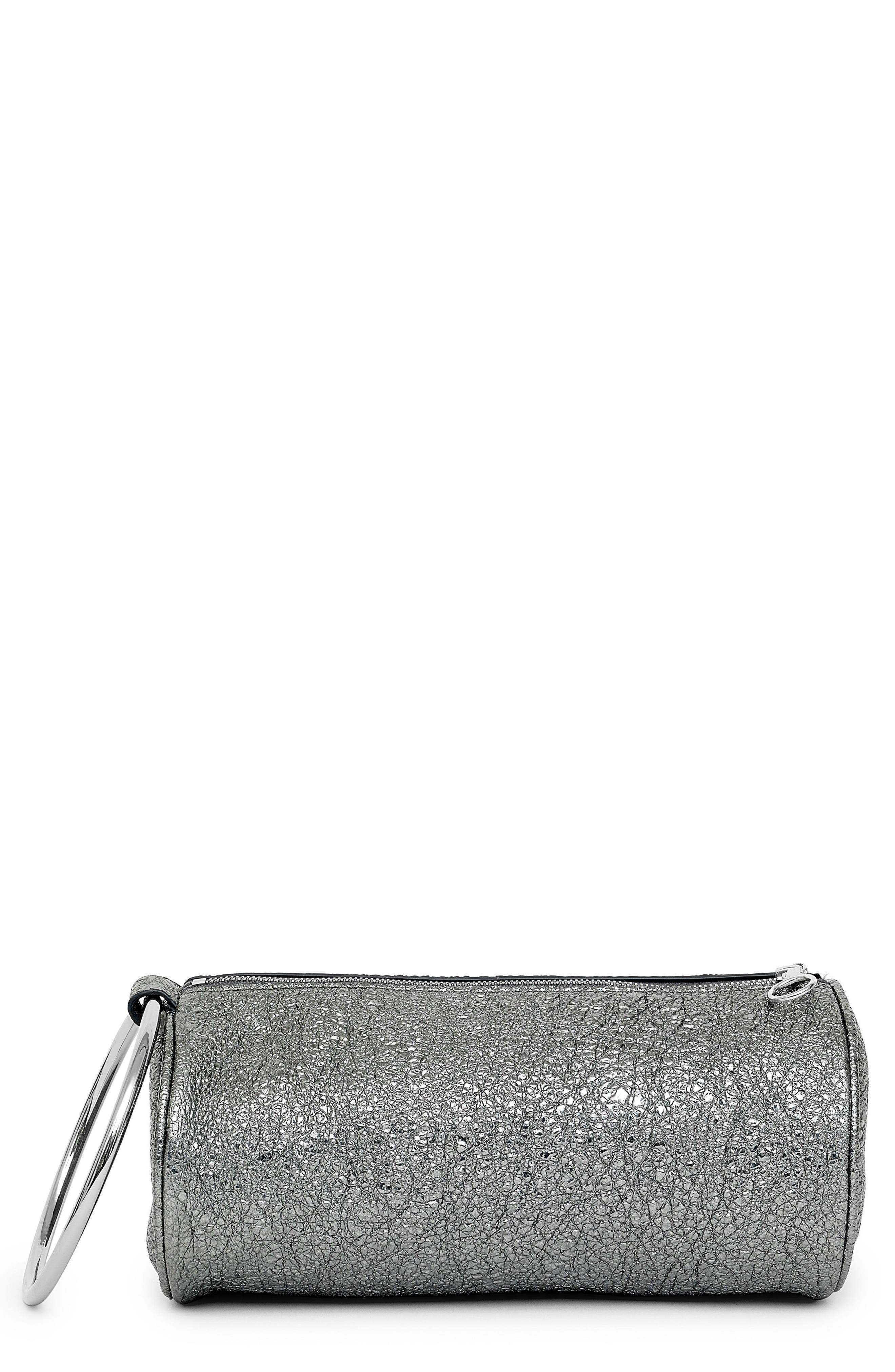 KARA Crinkled Metallic Leather Duffel Wristlet Clutch