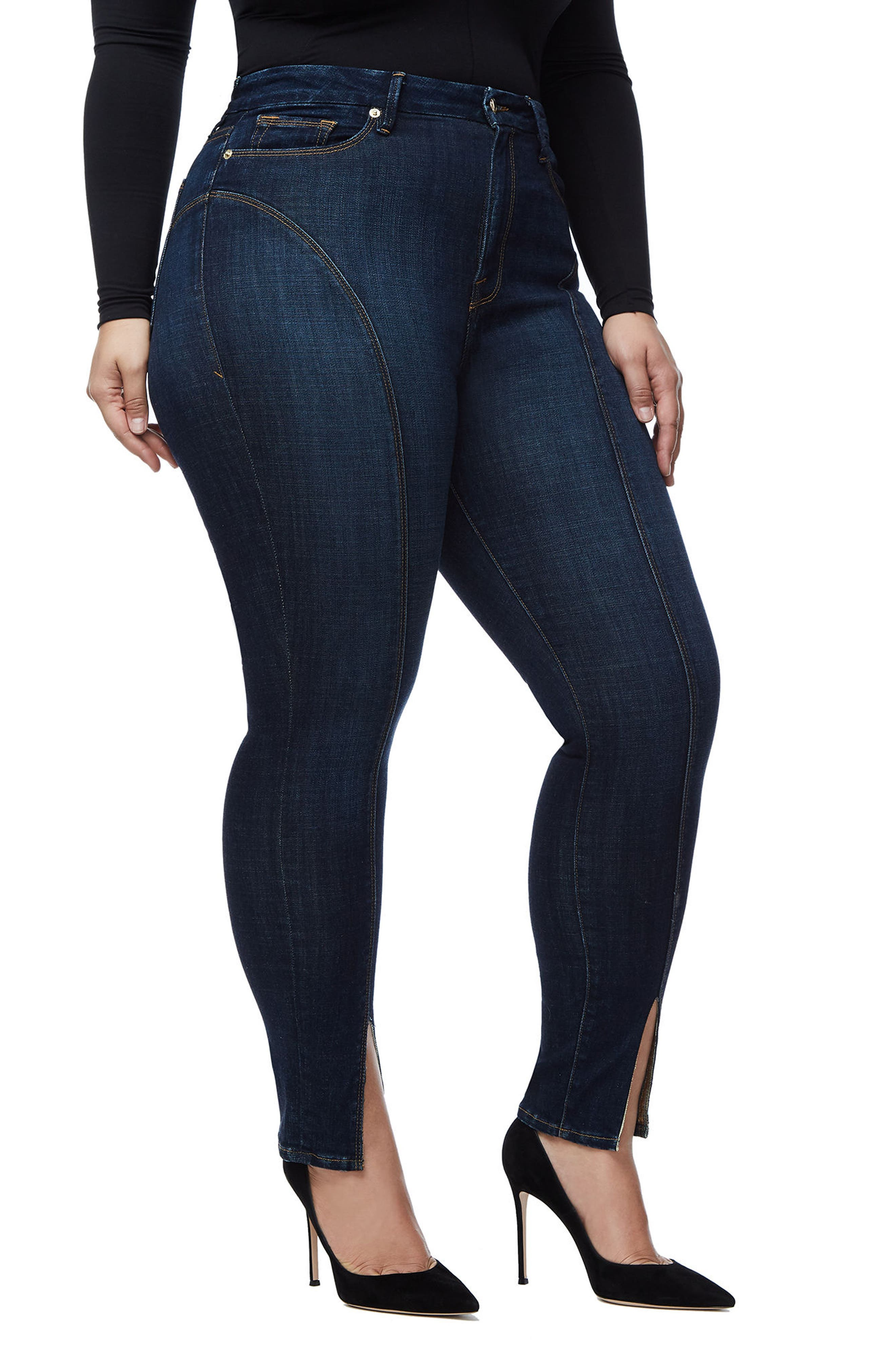 Alternate Image 5  - Good American Good Legs Crop Skinny Jeans (Blue 025) (Regular & Plus Size)