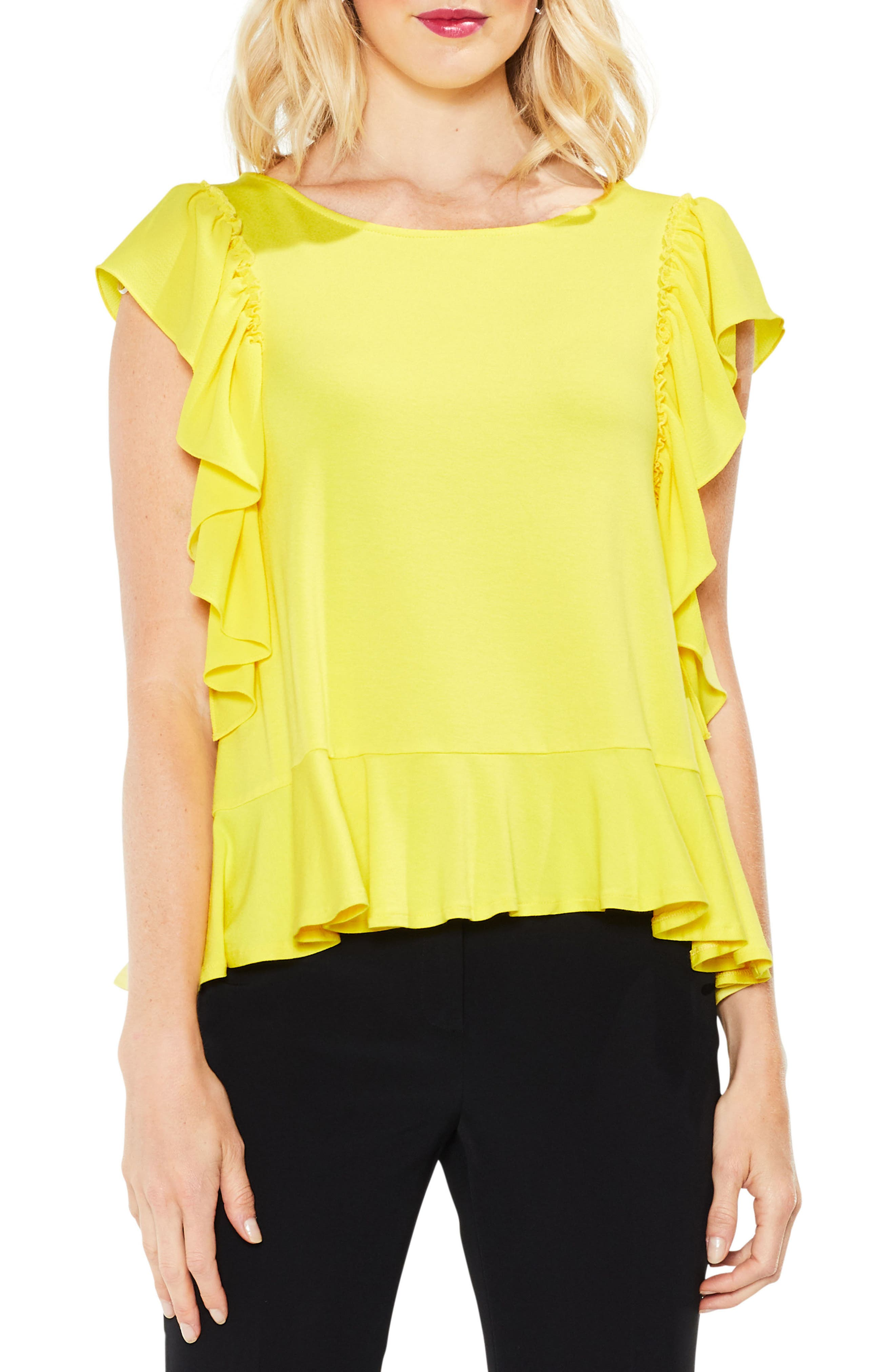 Alternate Image 1 Selected - Vince Camuto Ruffle Sleeve Mix Media Top