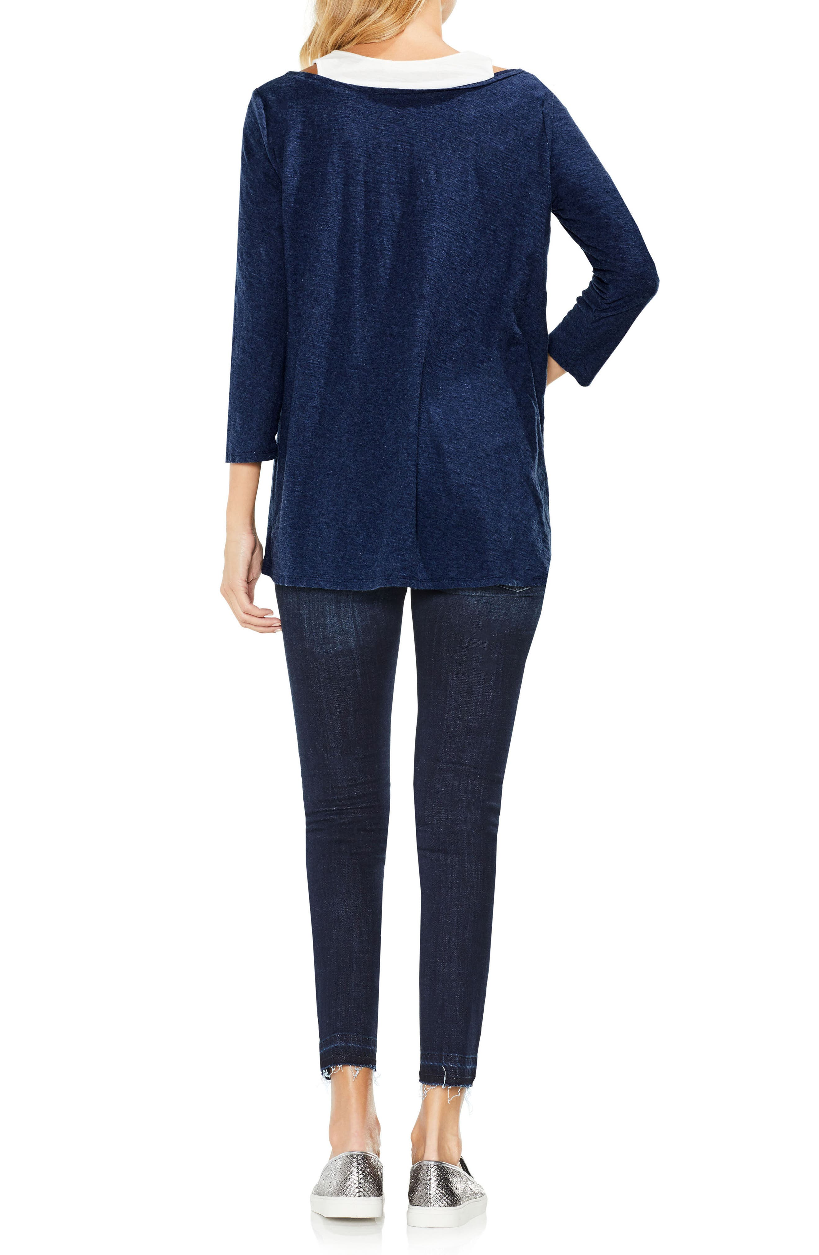 Two by Vince Camuto Layered Top,                             Alternate thumbnail 4, color,                             Indigo Night