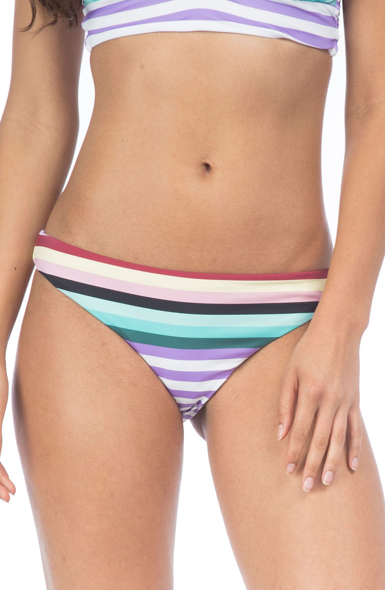 Stripeout Hipster Bikini Bottoms,                         Main,                         color, Purple Multi