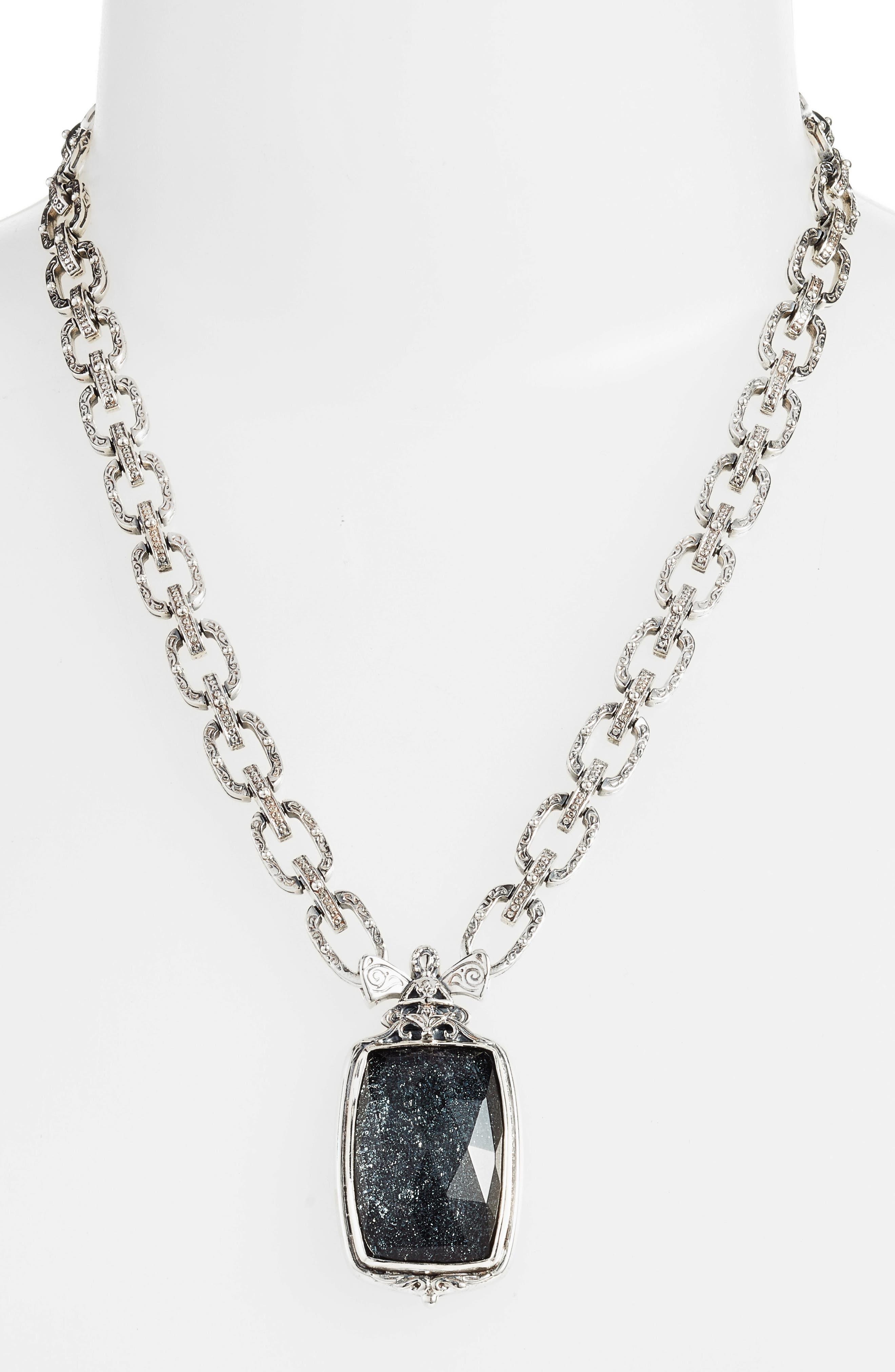 Santorini Hematite Pendant Necklace,                             Alternate thumbnail 2, color,                             Silver/ Hematite