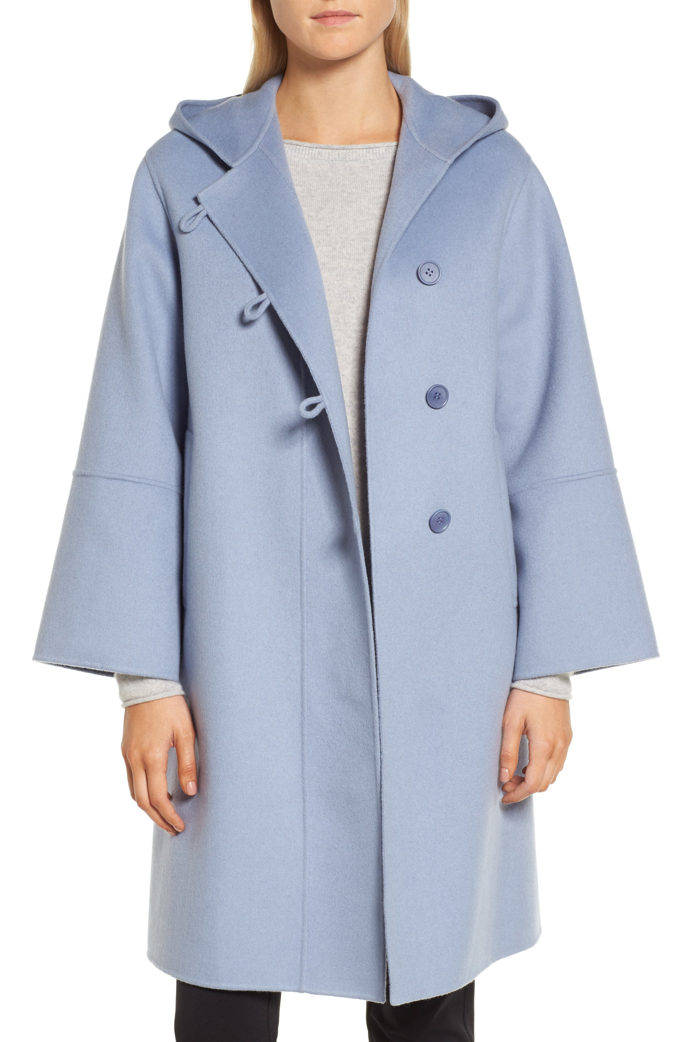 Hooded Wool & Cashmere Coat,                         Main,                         color, Blue Tempest