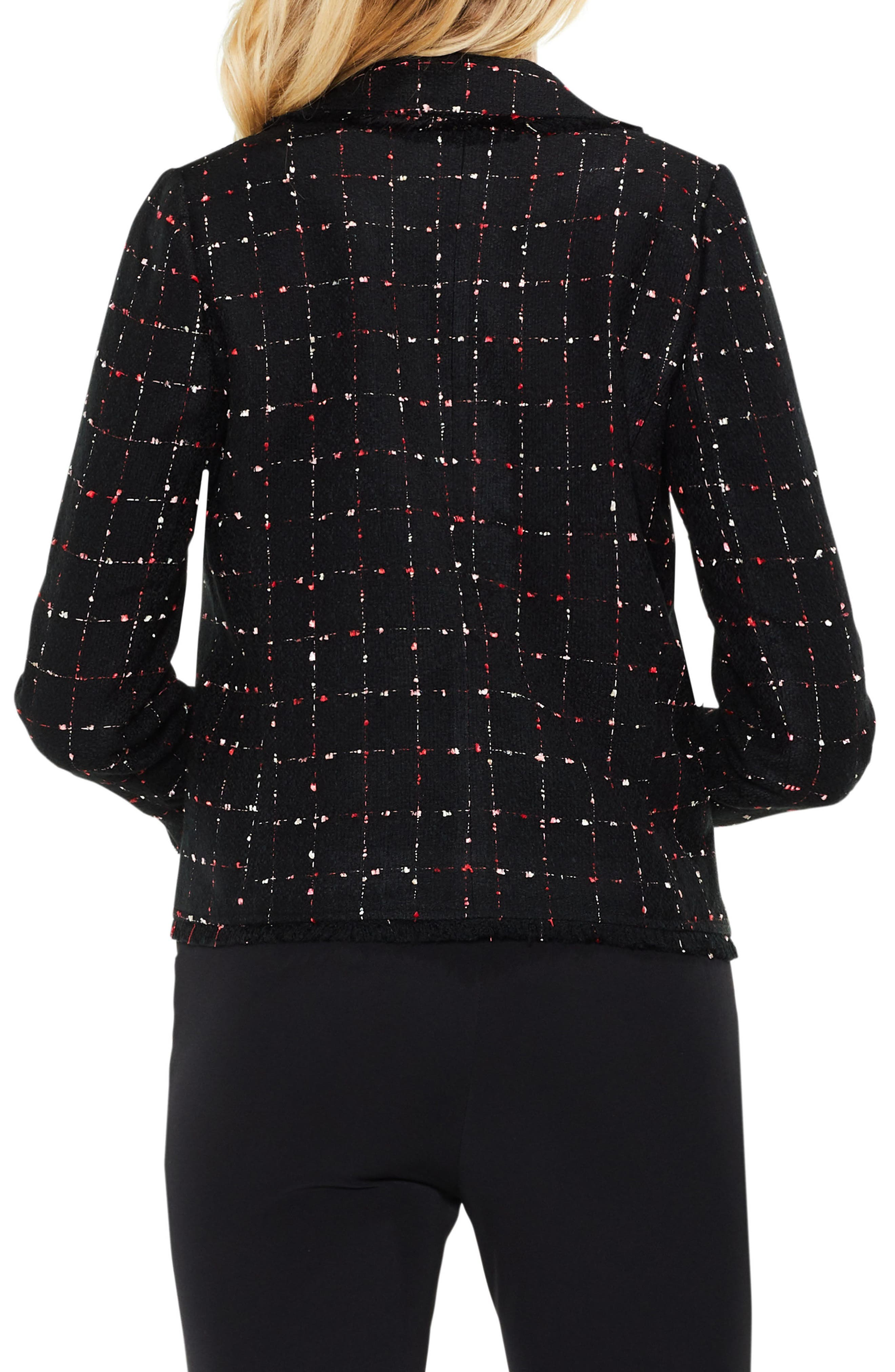 Spring Windowpane Tweed Open Front Jacket,                             Alternate thumbnail 2, color,                             Rich Black