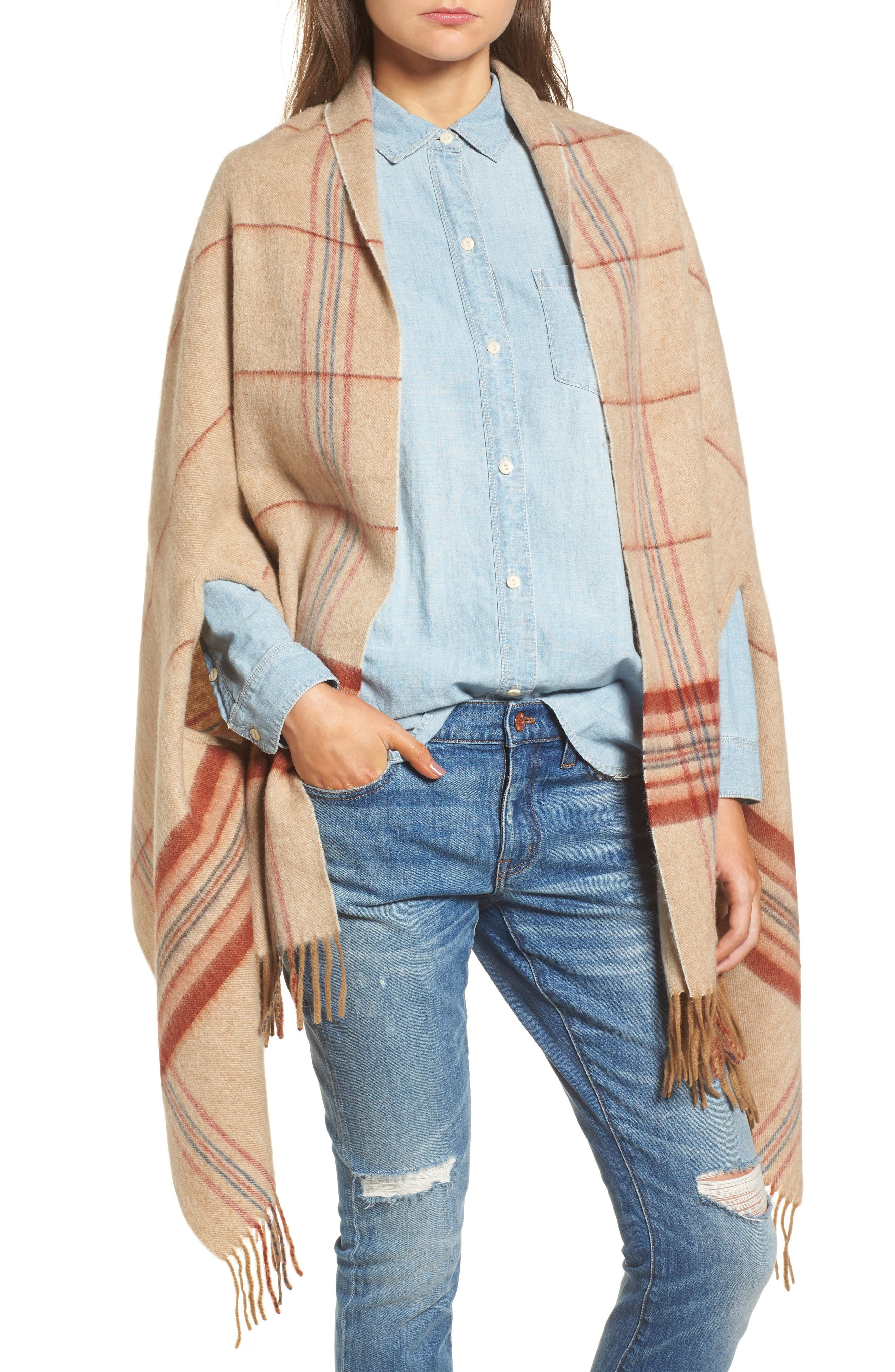 Main Image - Madewell Placed Plaid Cape Scarf