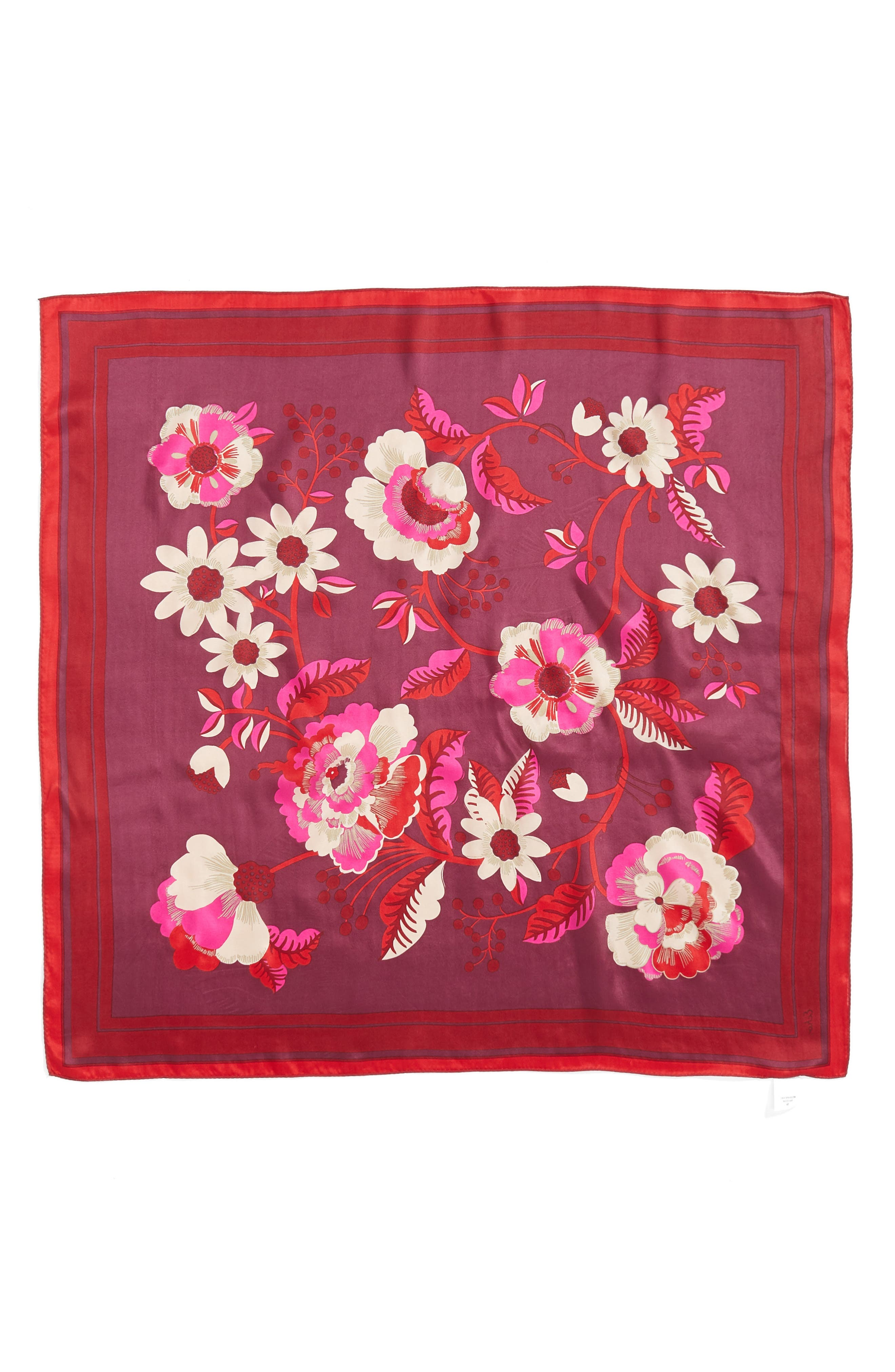 Bloomsbury Square Silk Scarf,                             Alternate thumbnail 2, color,                             Currant