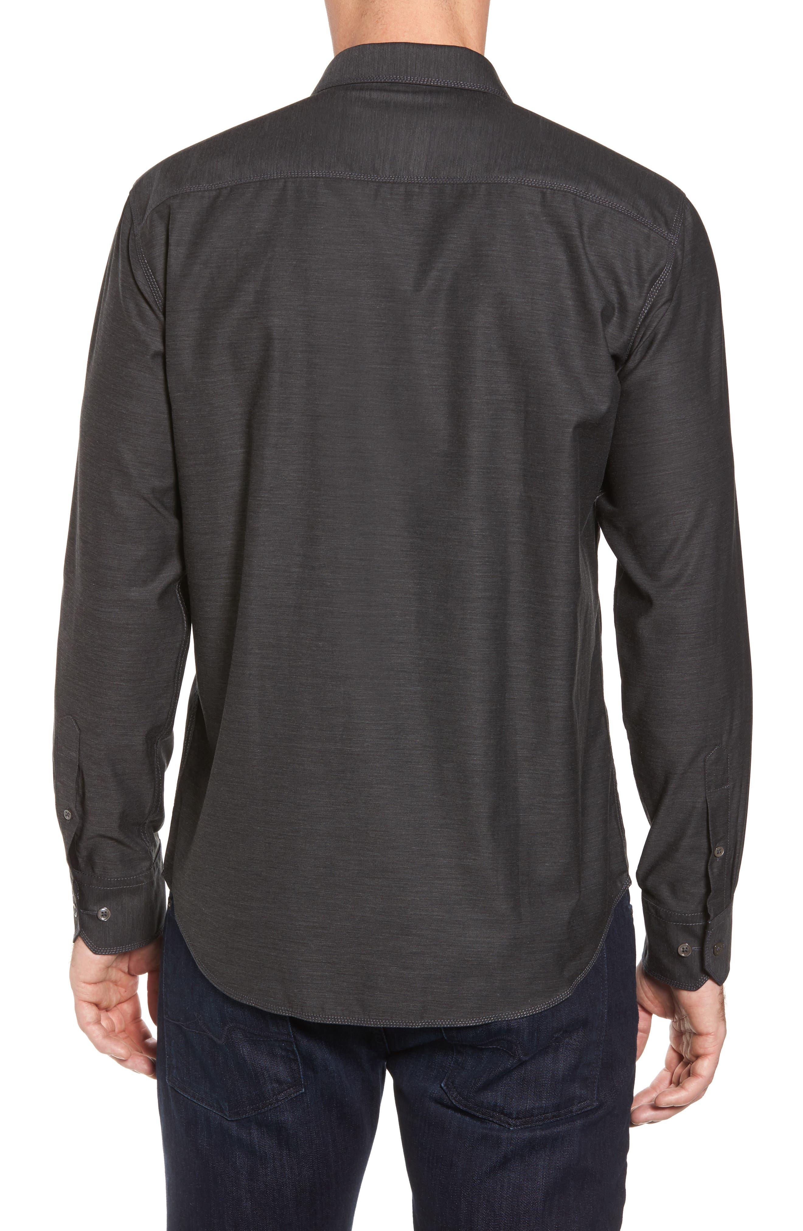 Trim Fit Heathered Sport Shirt,                             Alternate thumbnail 3, color,                             Charcoal
