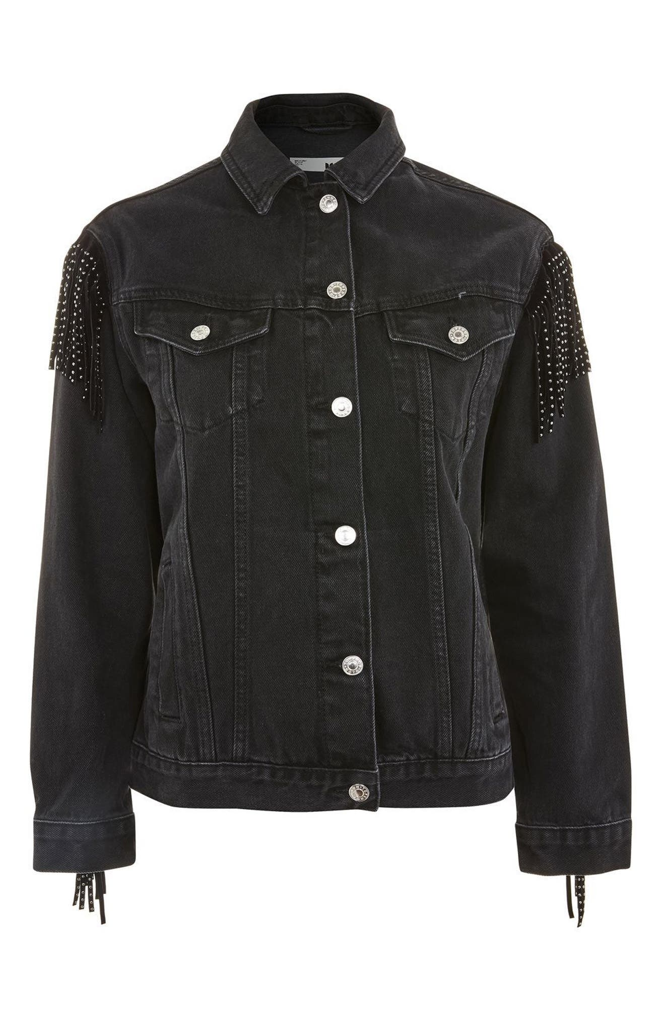 Alternate Image 1 Selected - Topshop Stud Fringe Denim Jacket