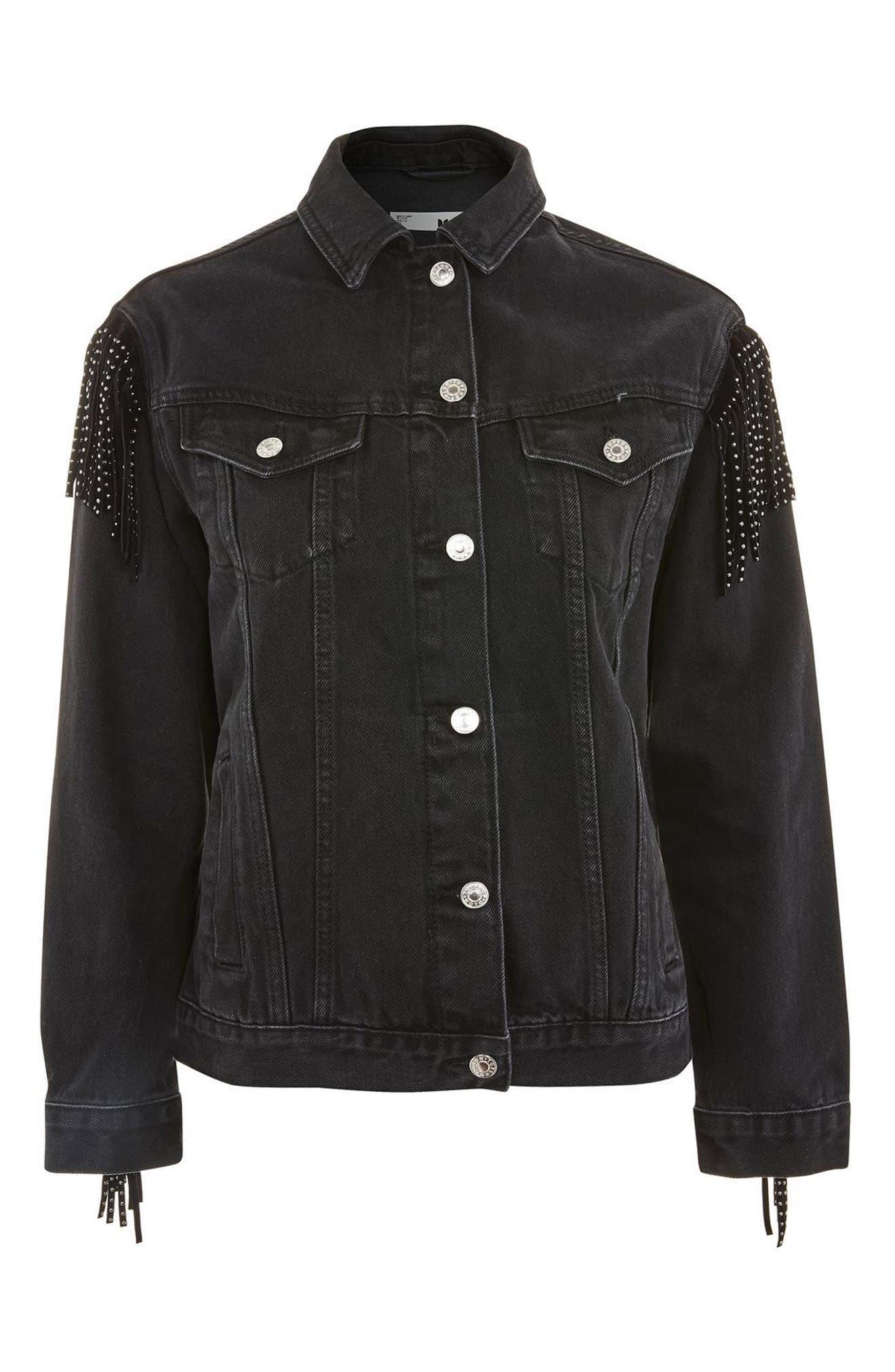 Stud Fringe Denim Jacket,                             Main thumbnail 1, color,                             Black