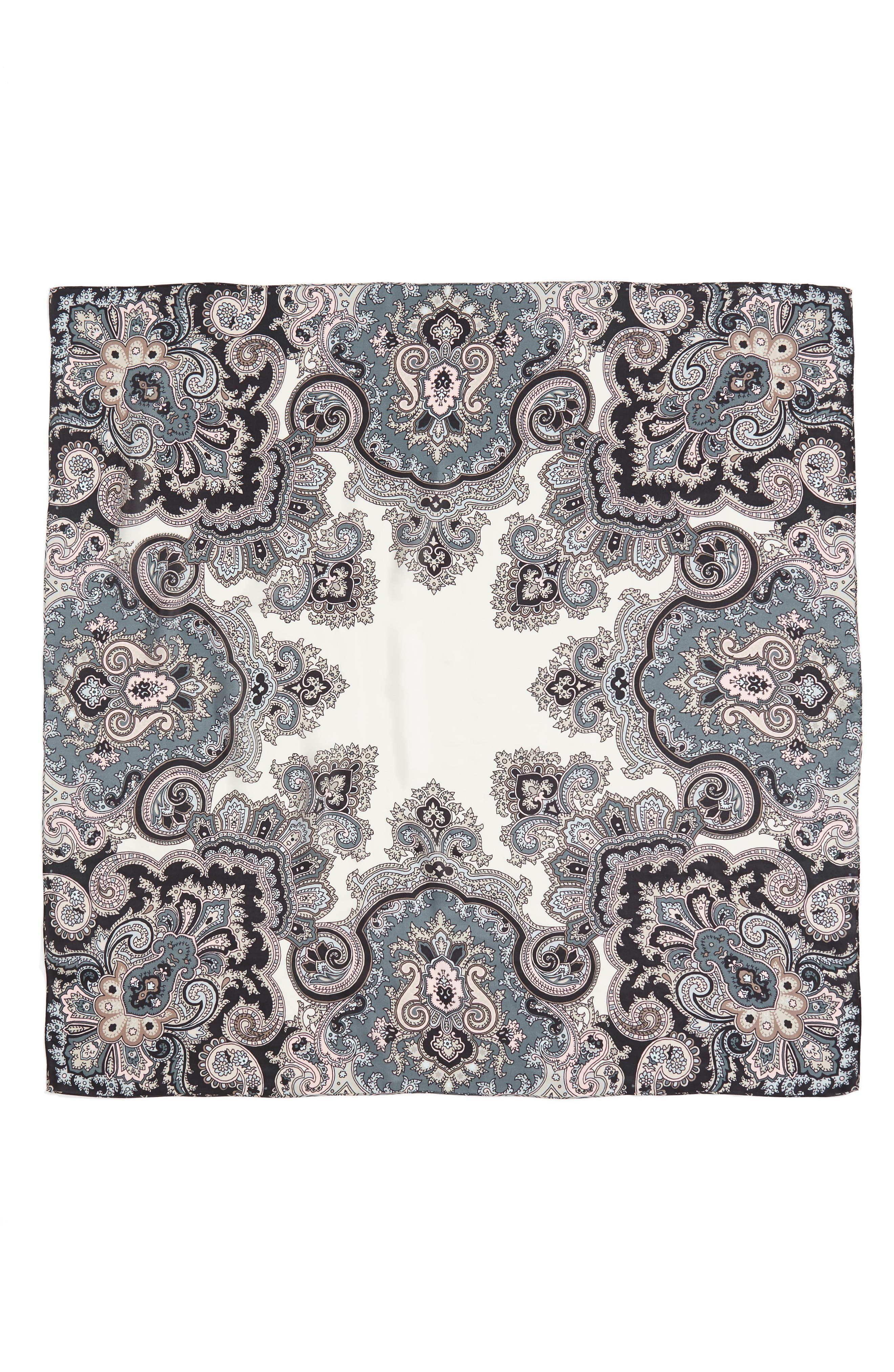 London Nights Square Silk Scarf,                             Alternate thumbnail 3, color,                             Marshmallow
