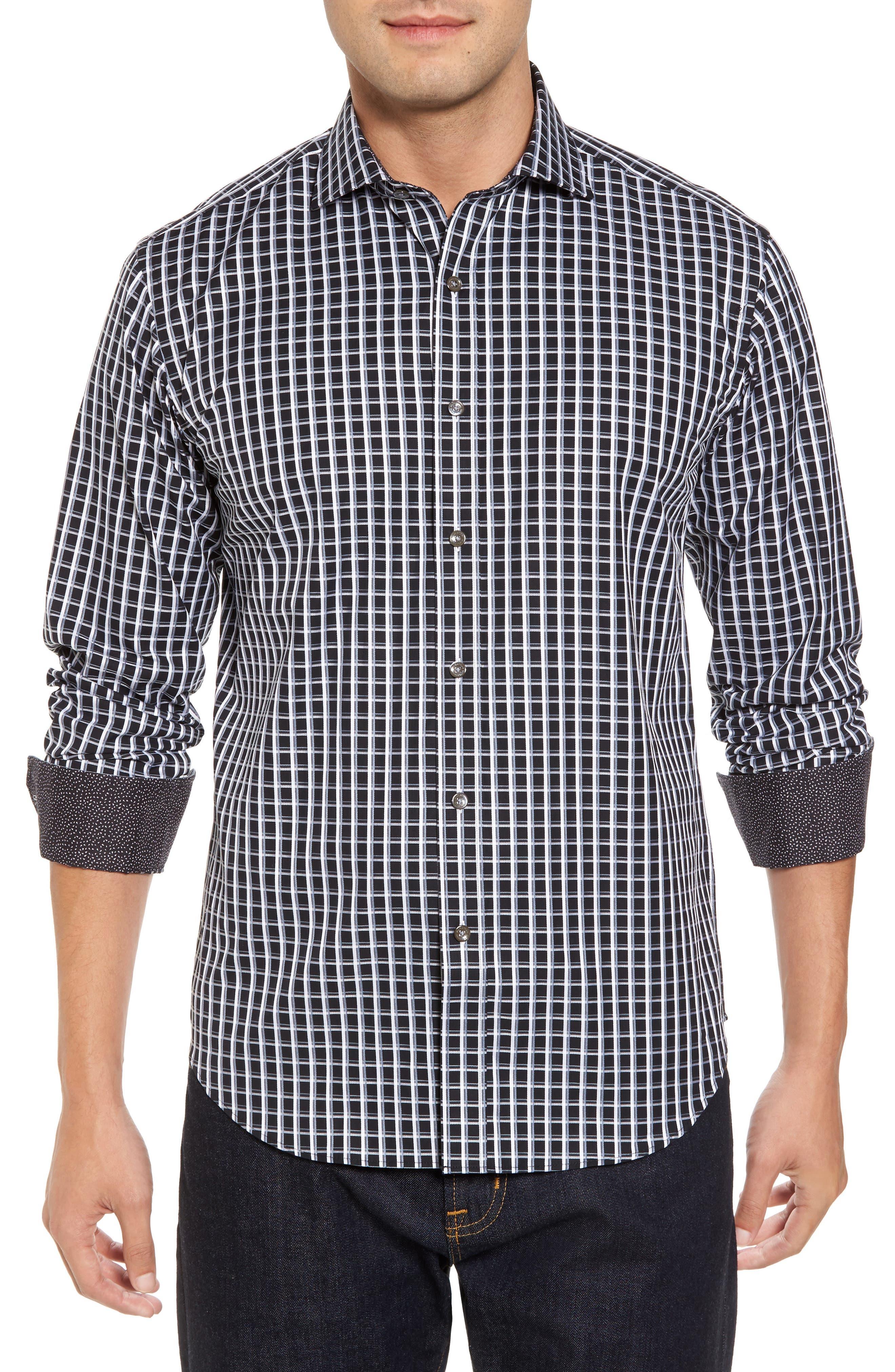 Alternate Image 1 Selected - Bugatchi Shaped Fit Print Sport Shirt