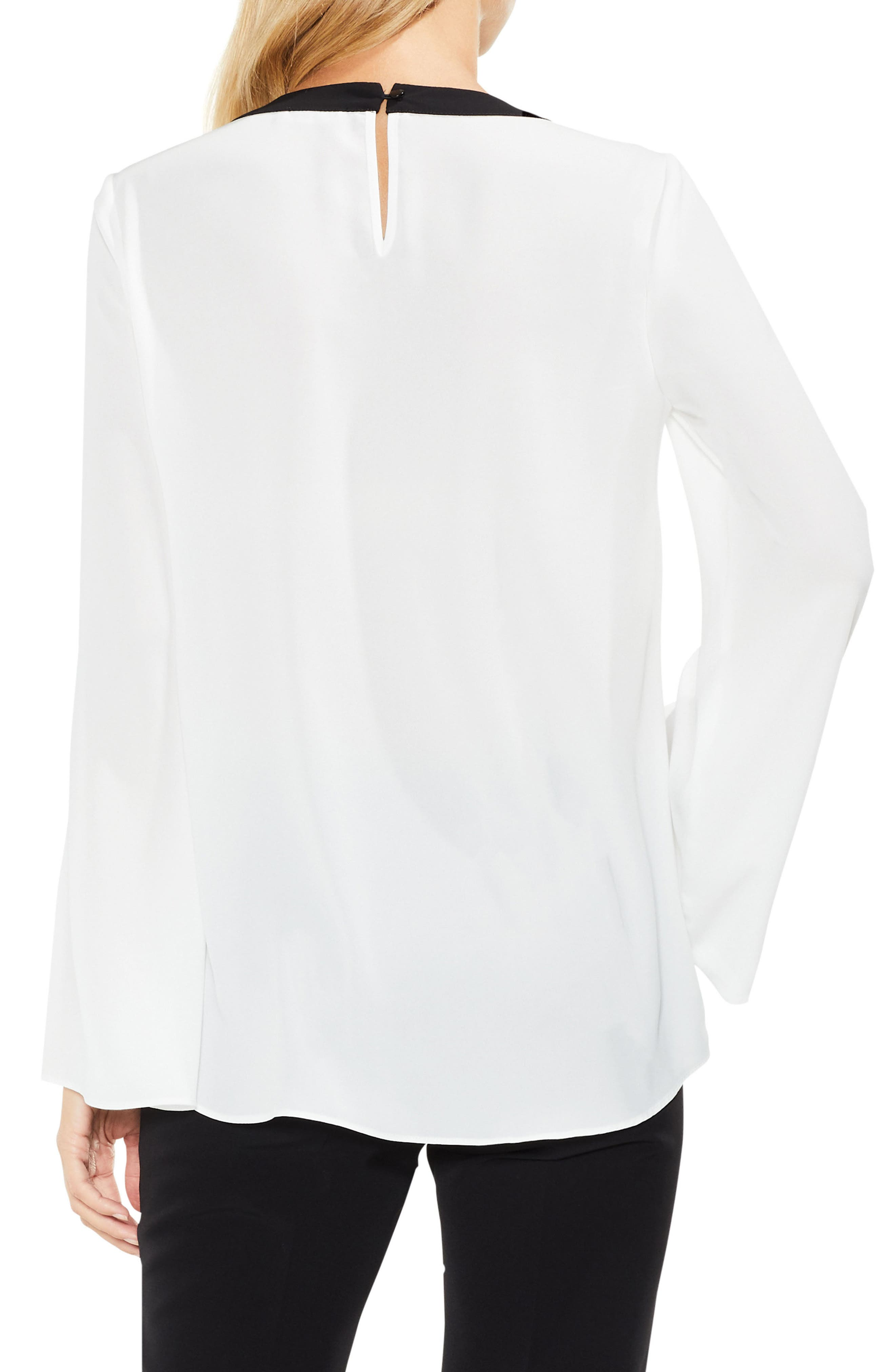 Contrast Trim Bell Sleeve Blouse,                             Alternate thumbnail 2, color,                             New Ivory
