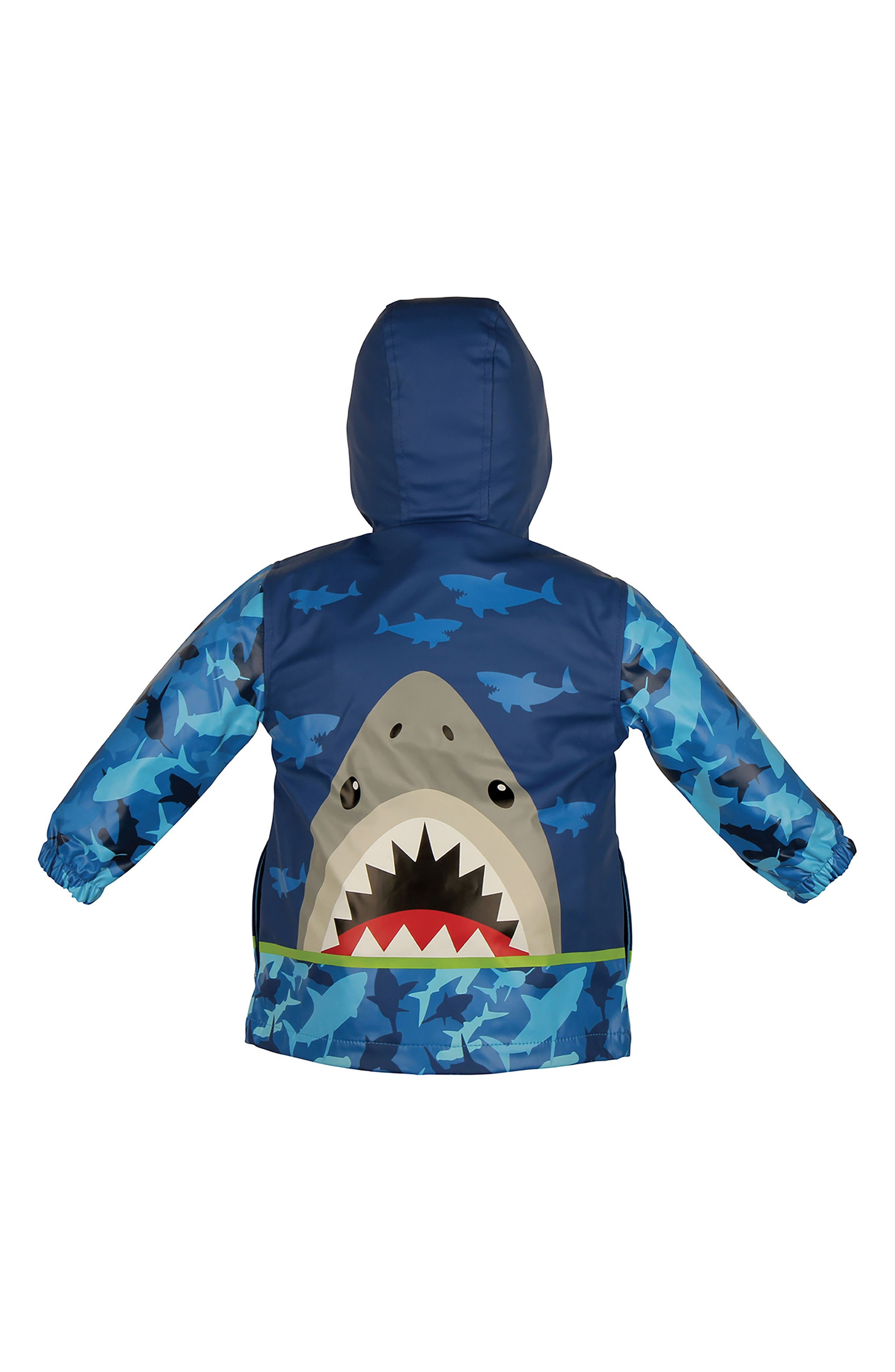 Shark Raincoat & Umbrella Set,                             Alternate thumbnail 3, color,                             Shark