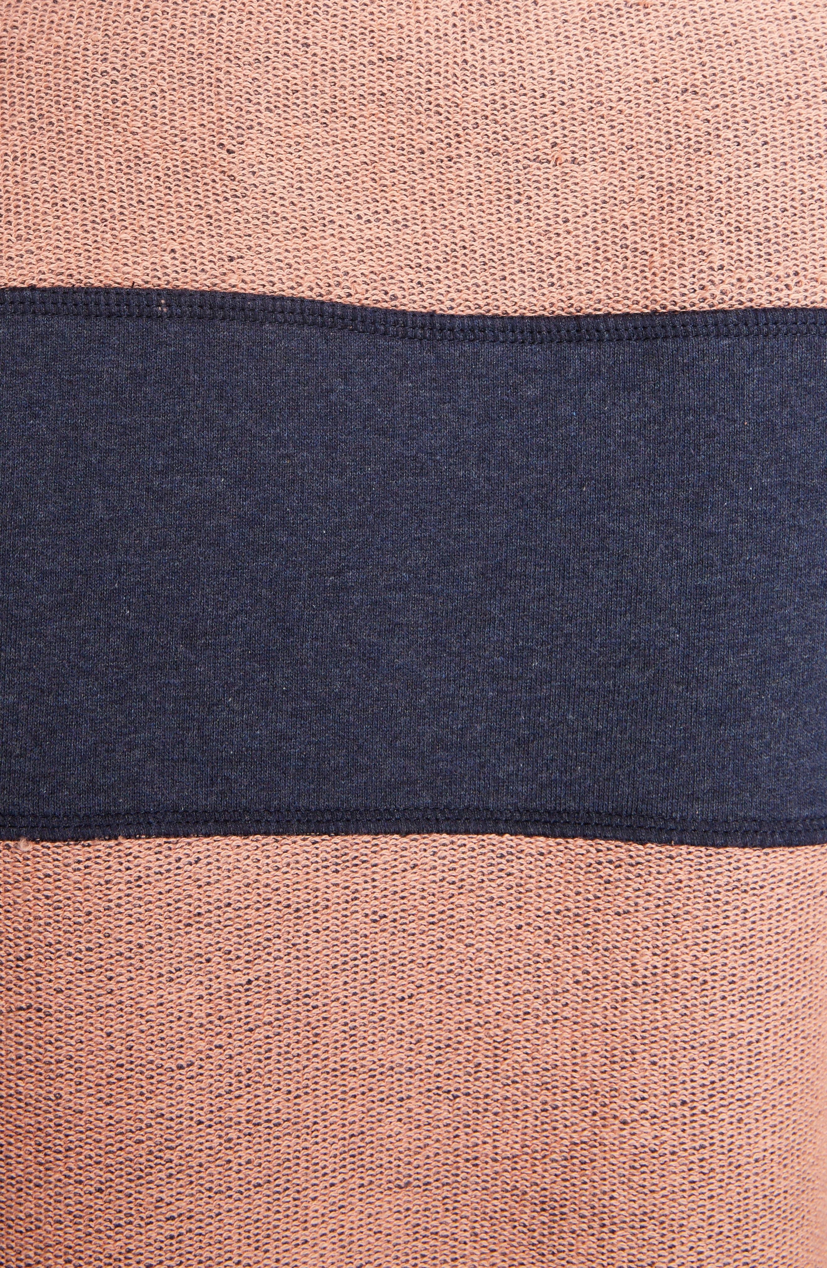 Diana Stripe Sweatshirt,                             Alternate thumbnail 5, color,                             Navy Melange/ Pink