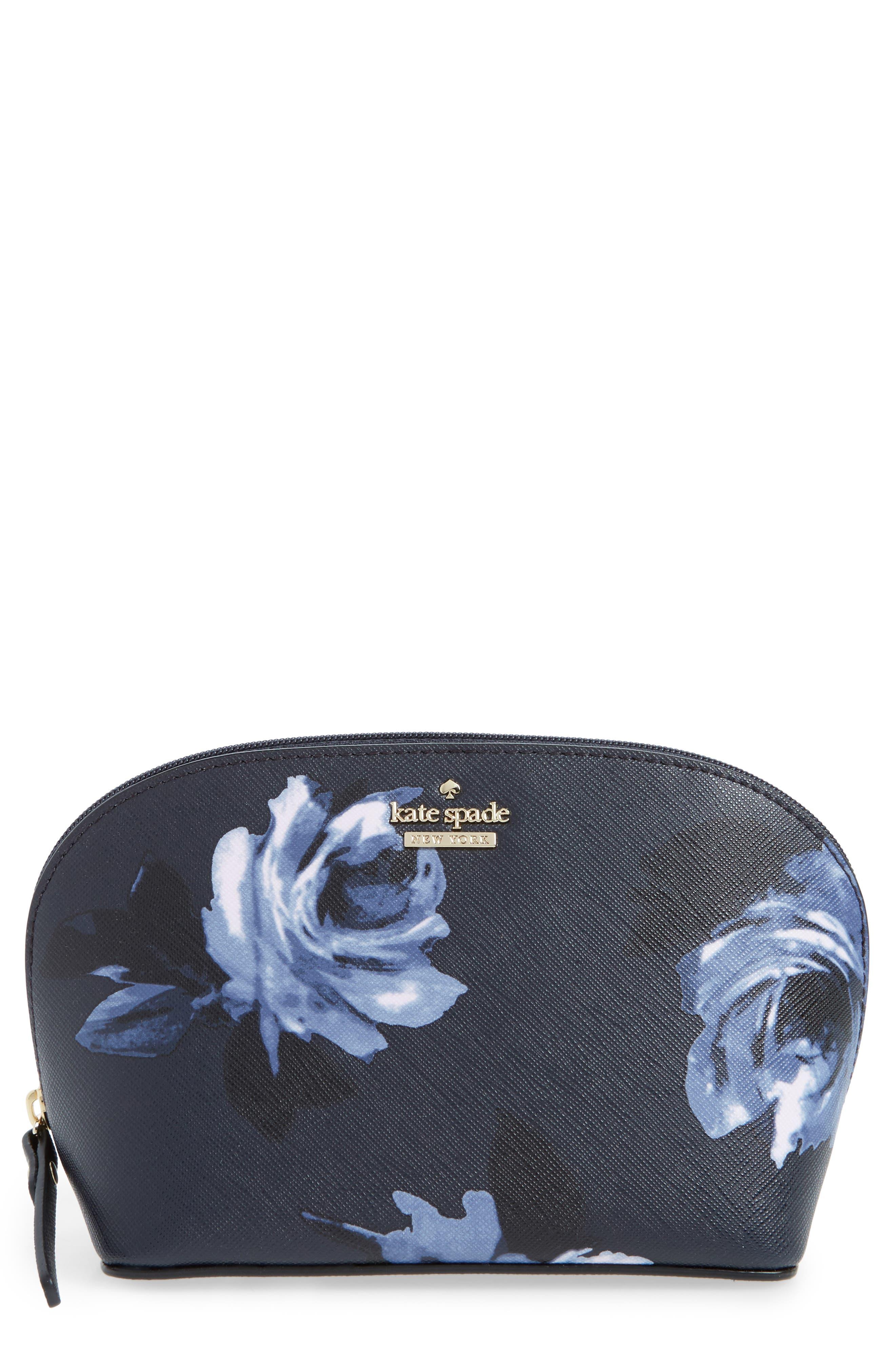 cameron street night rose - small abalene cosmetics bag,                             Main thumbnail 1, color,                             Rich Navy Multi