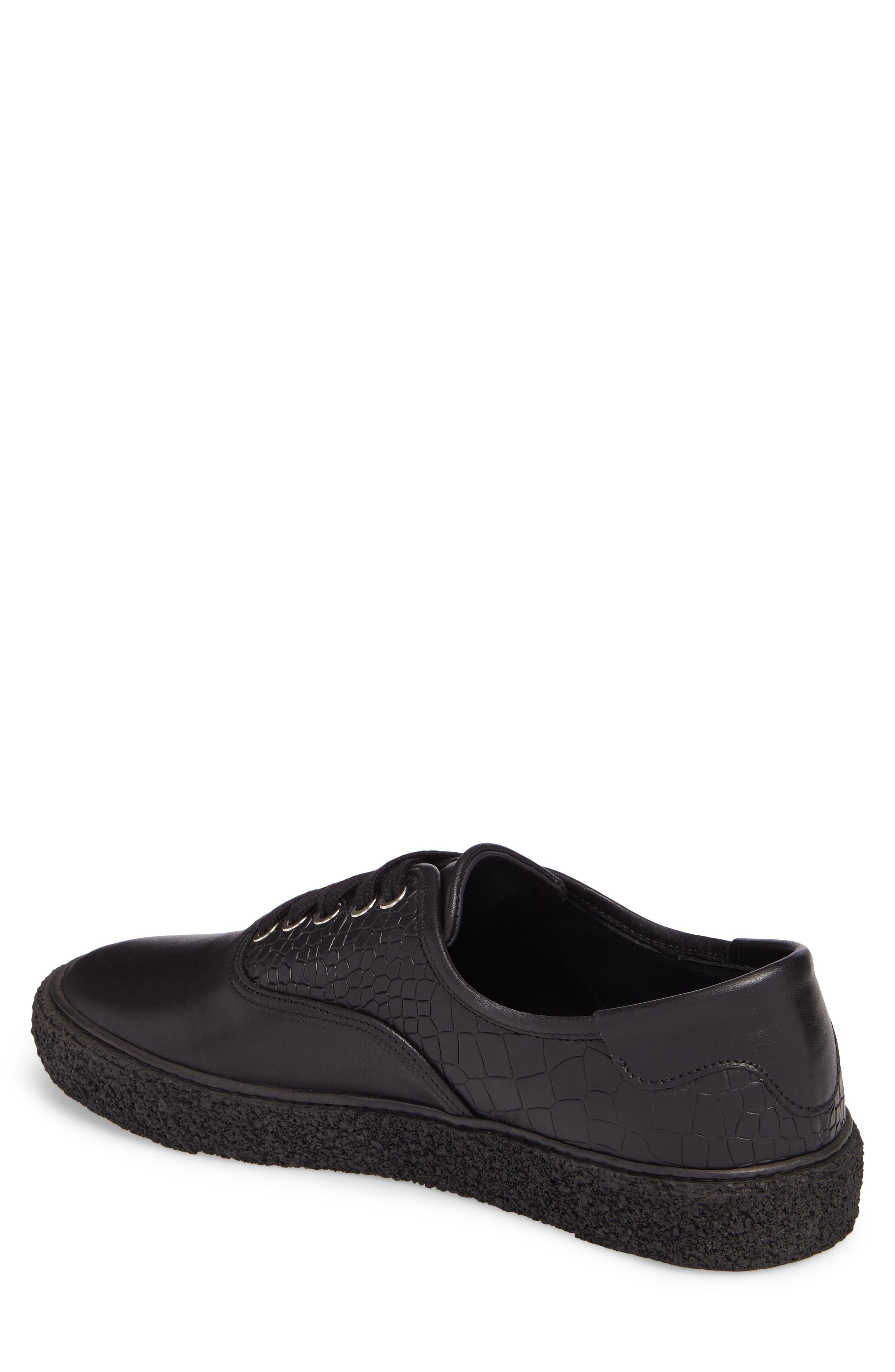 Skate Embossed Sneaker,                             Alternate thumbnail 2, color,                             Black Leather