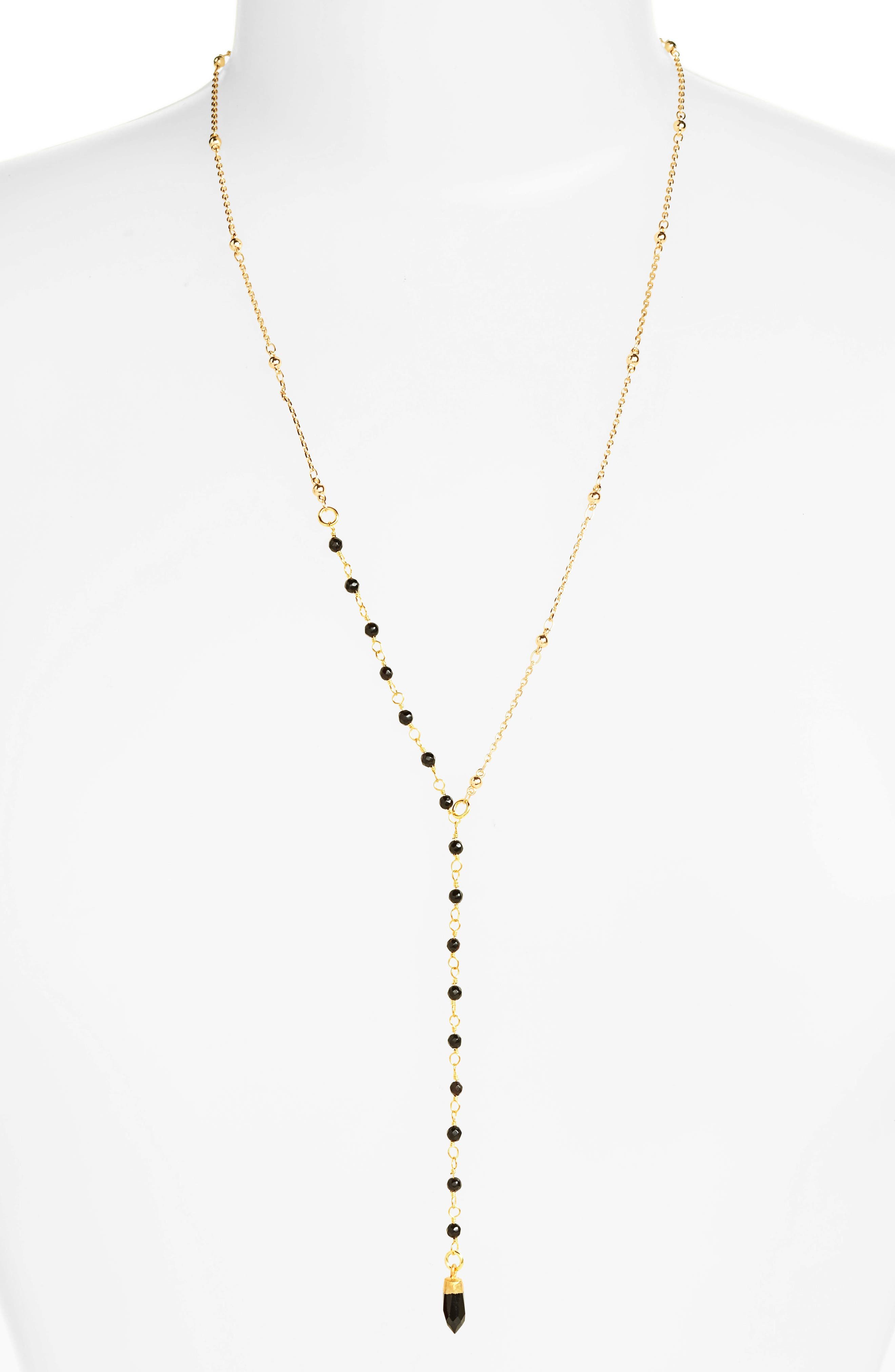 Beaded Y-Necklace,                         Main,                         color, Black
