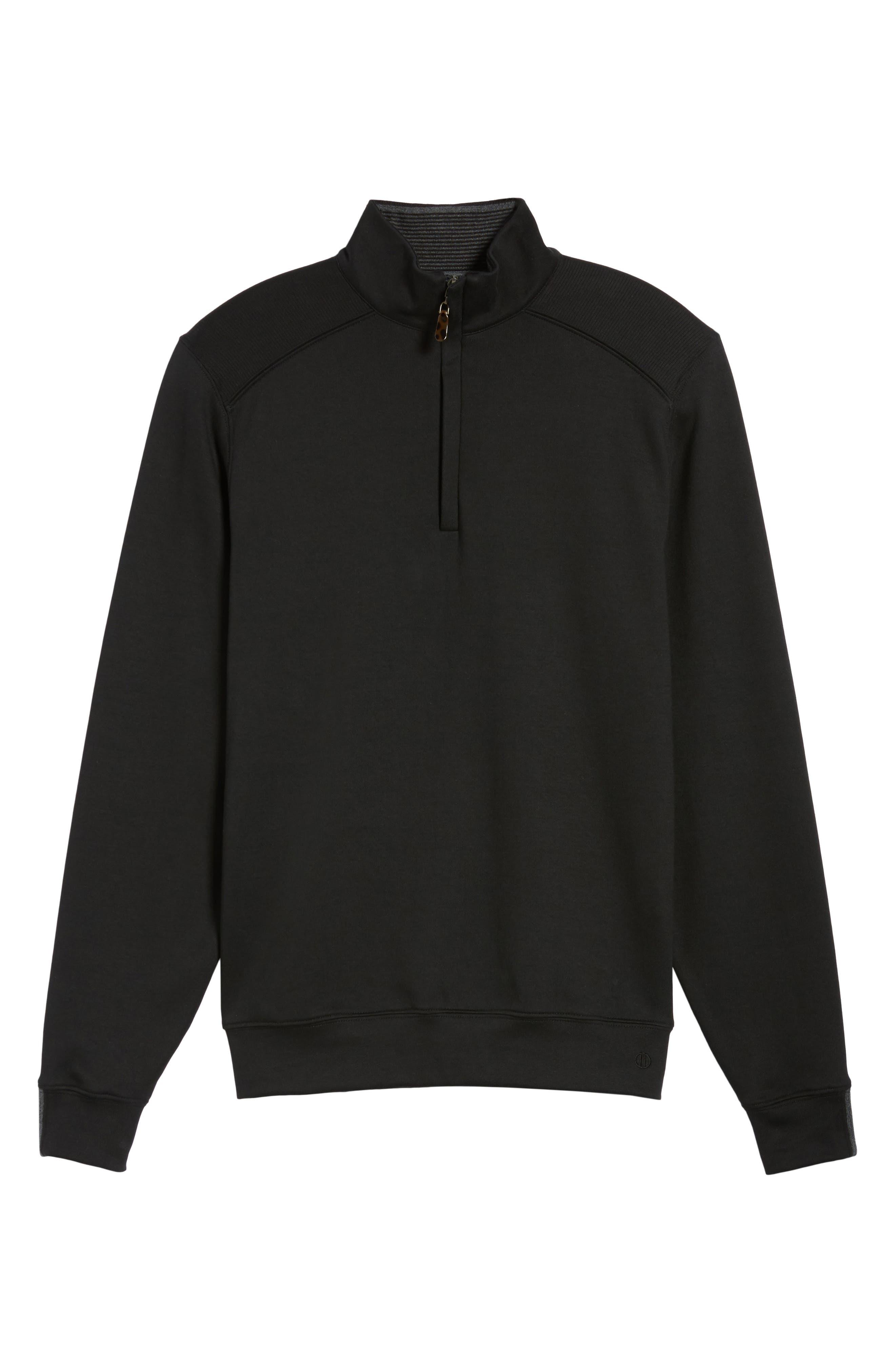 Interlock Knit Quarter Zip Pullover,                             Alternate thumbnail 6, color,                             Black