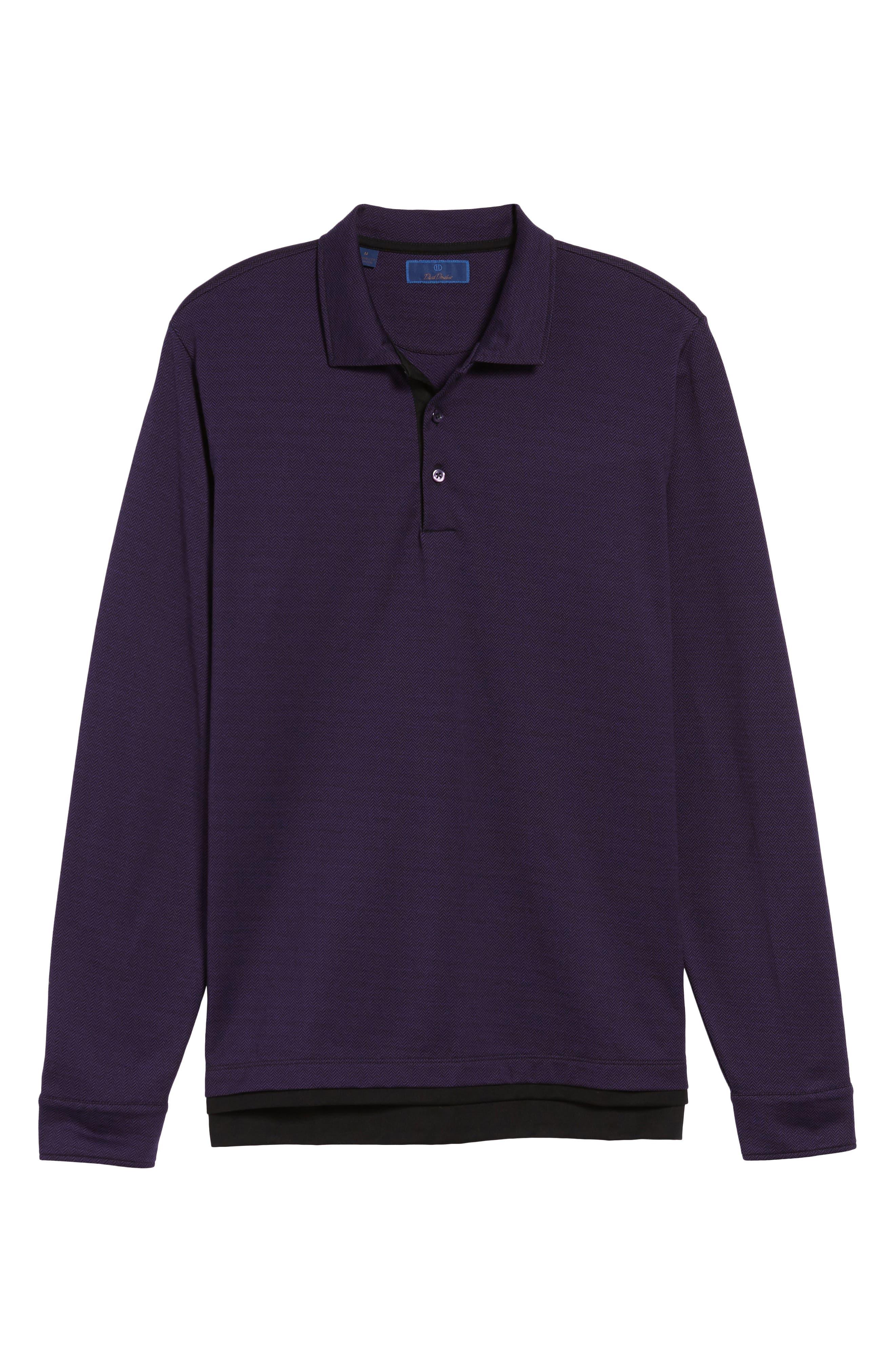 Herringbone Jacquard Polo,                             Alternate thumbnail 6, color,                             Purple