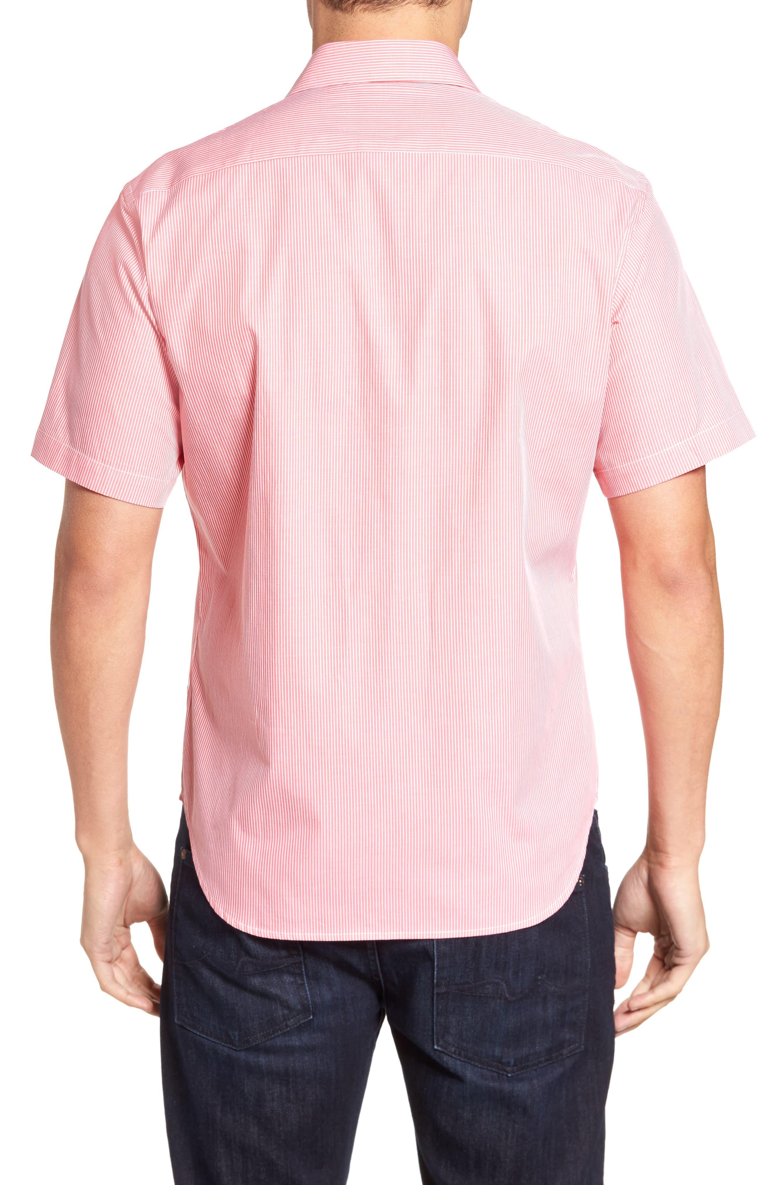 Many Regular Fit Stripe Sport Shirt,                             Alternate thumbnail 2, color,                             Coral