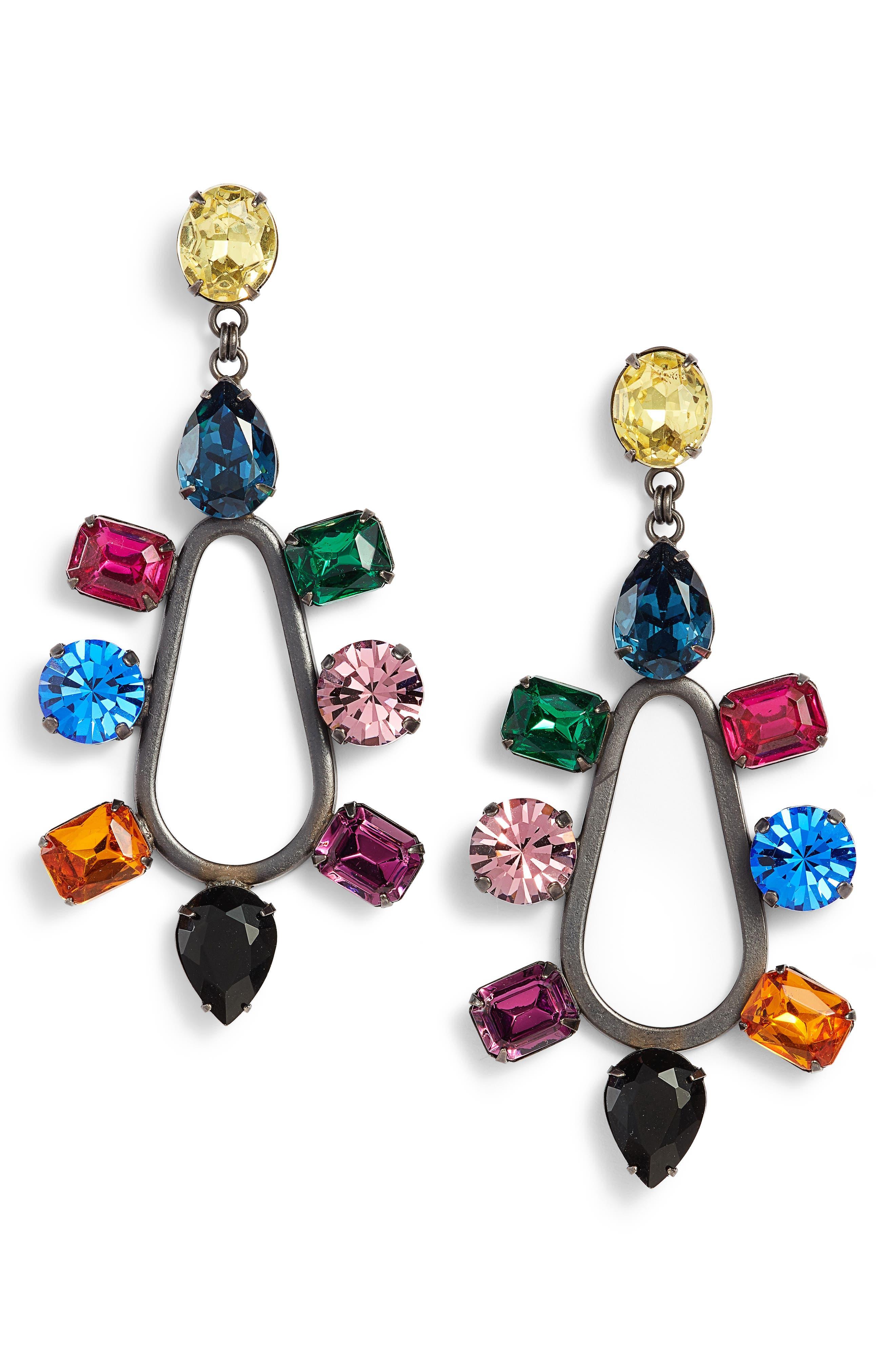 Tori Crystal Drop Earrings,                             Main thumbnail 1, color,                             Multi