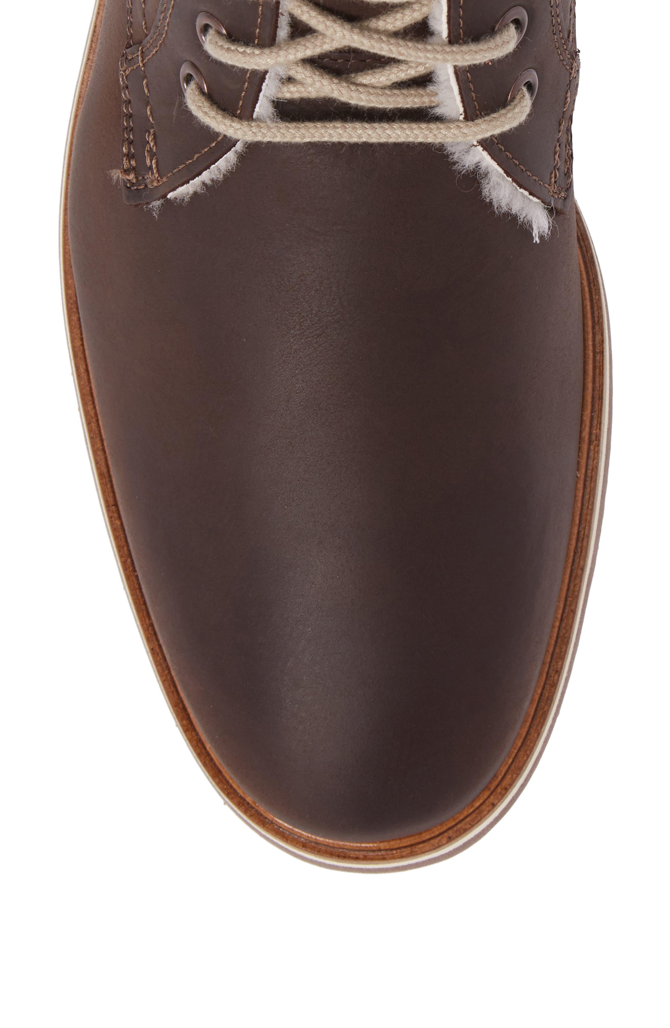 Varus Waterproof Shearlng Lined Chukka Boot,                             Alternate thumbnail 5, color,                             Ebony Leather