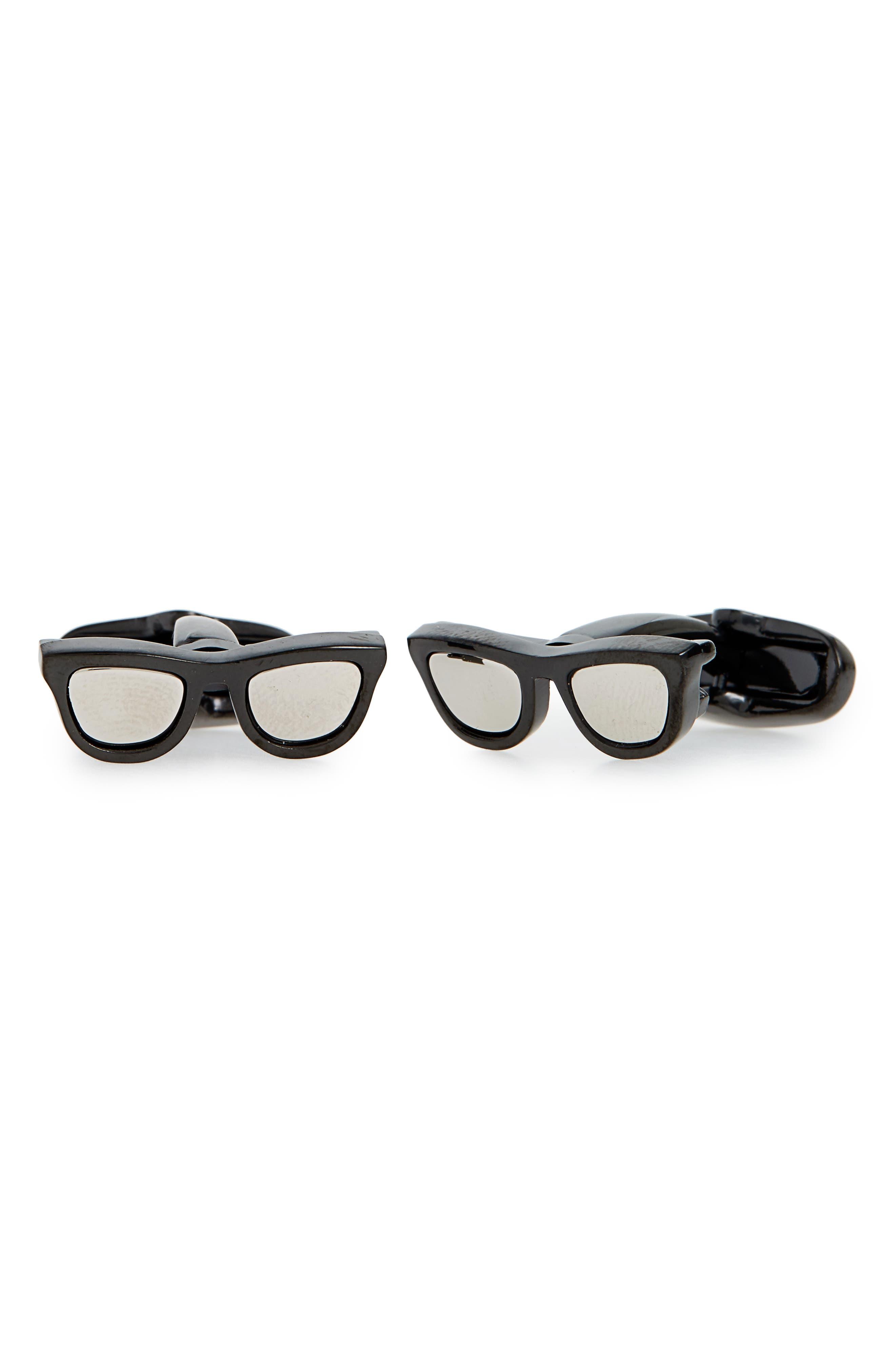 Sunglasses Cuff Links,                         Main,                         color, Silver