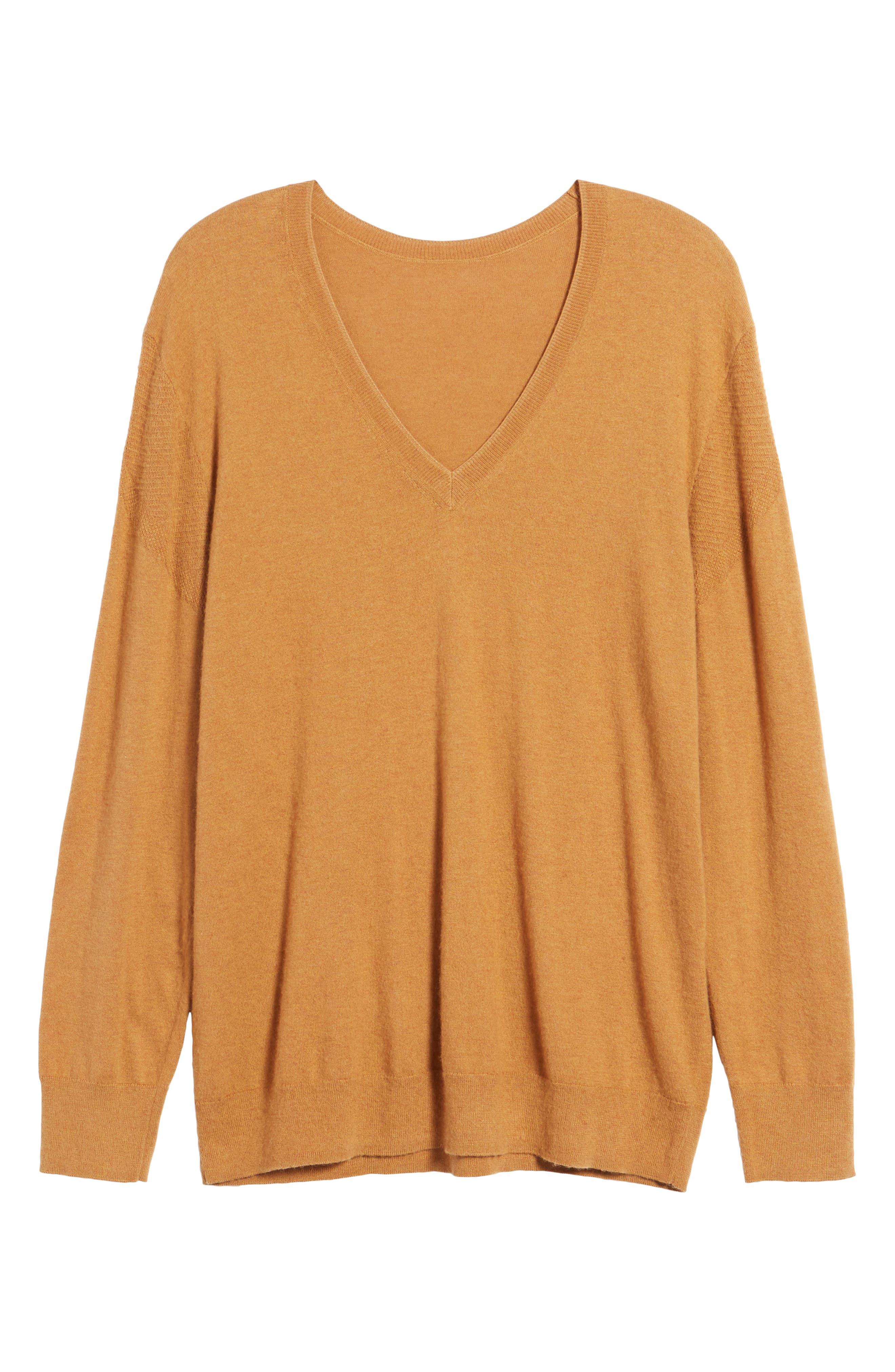 V-Neck Sweater,                             Alternate thumbnail 6, color,                             Tan Sugar Heather